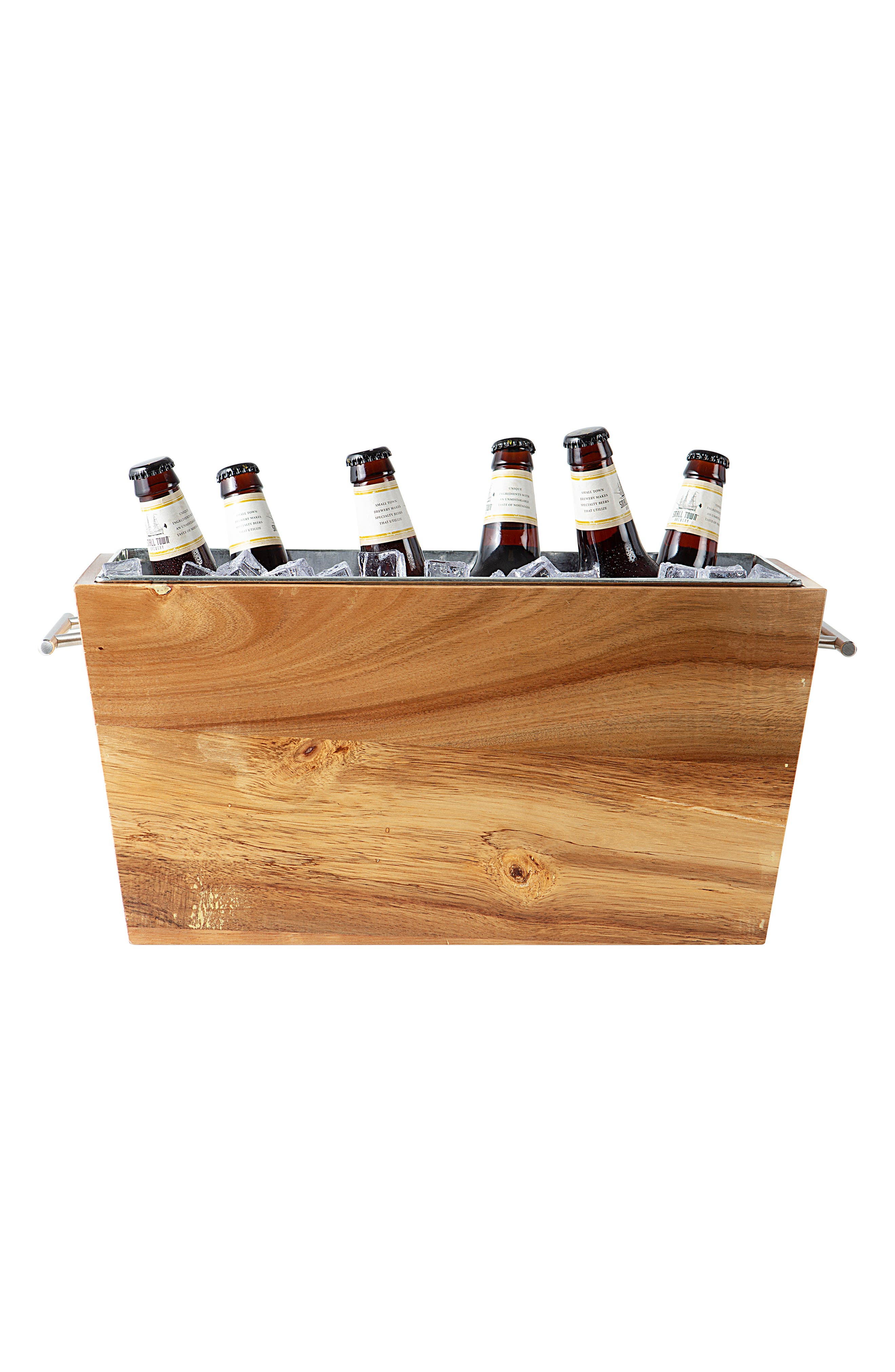 Monogram Wood Beverage Trough,                             Main thumbnail 1, color,                             200