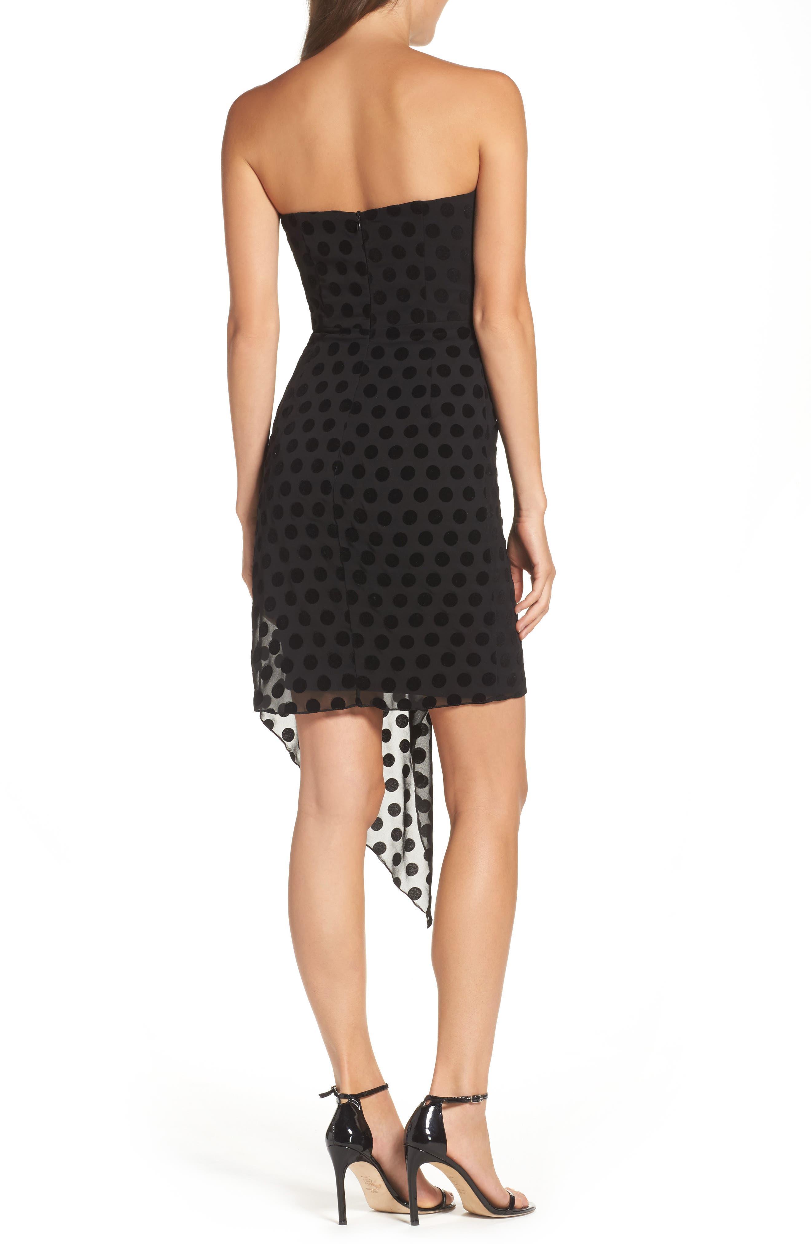 Strapless Flocked Velvet Spot Dress,                             Alternate thumbnail 2, color,                             001