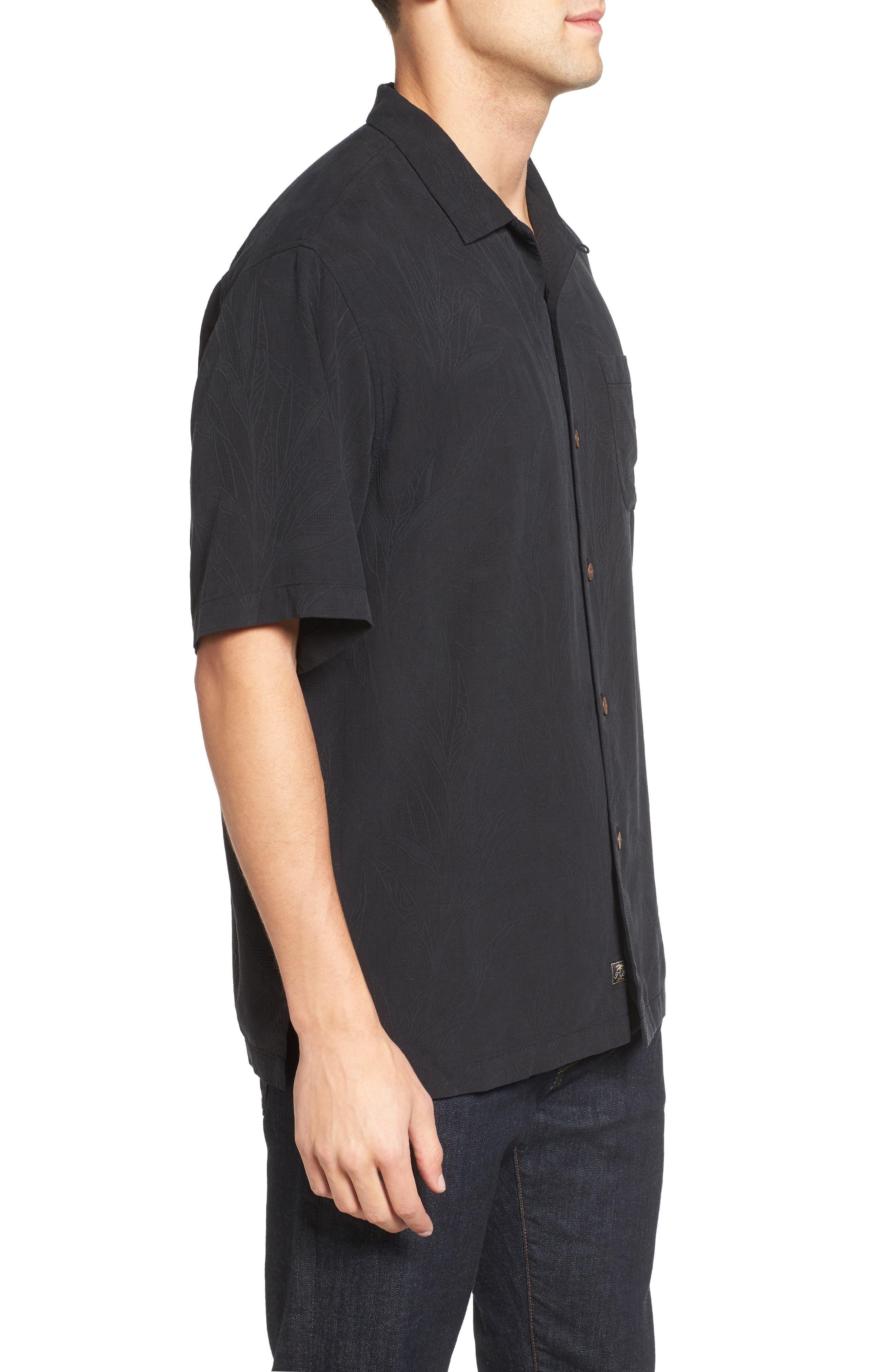 Islander Fronds Silk Camp Shirt,                             Alternate thumbnail 3, color,                             001