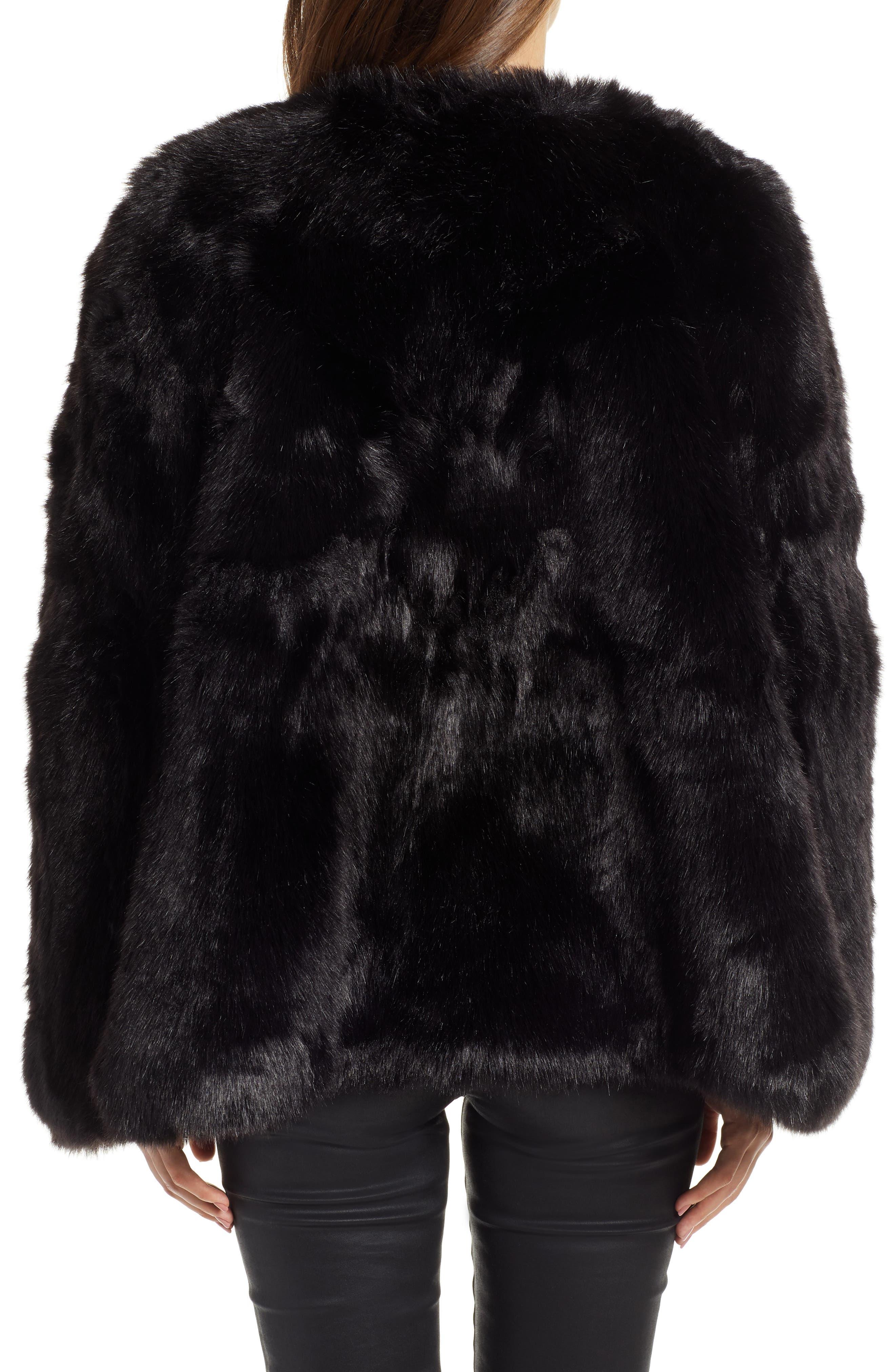 Faux Fur Cape,                             Alternate thumbnail 2, color,                             BLACK SHORT FOX
