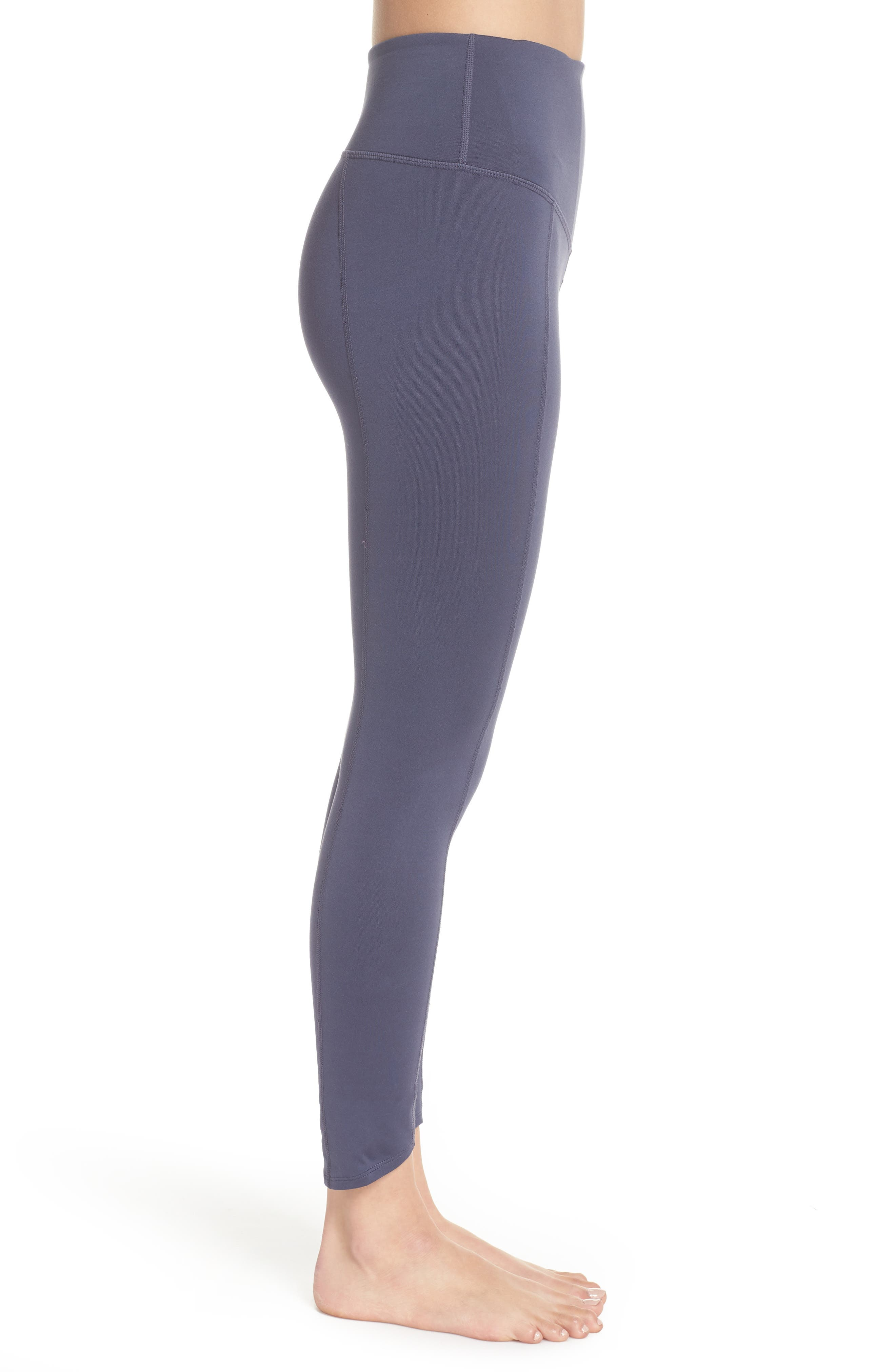 Refocus Recycled High Waist Midi Leggings,                             Alternate thumbnail 3, color,                             021