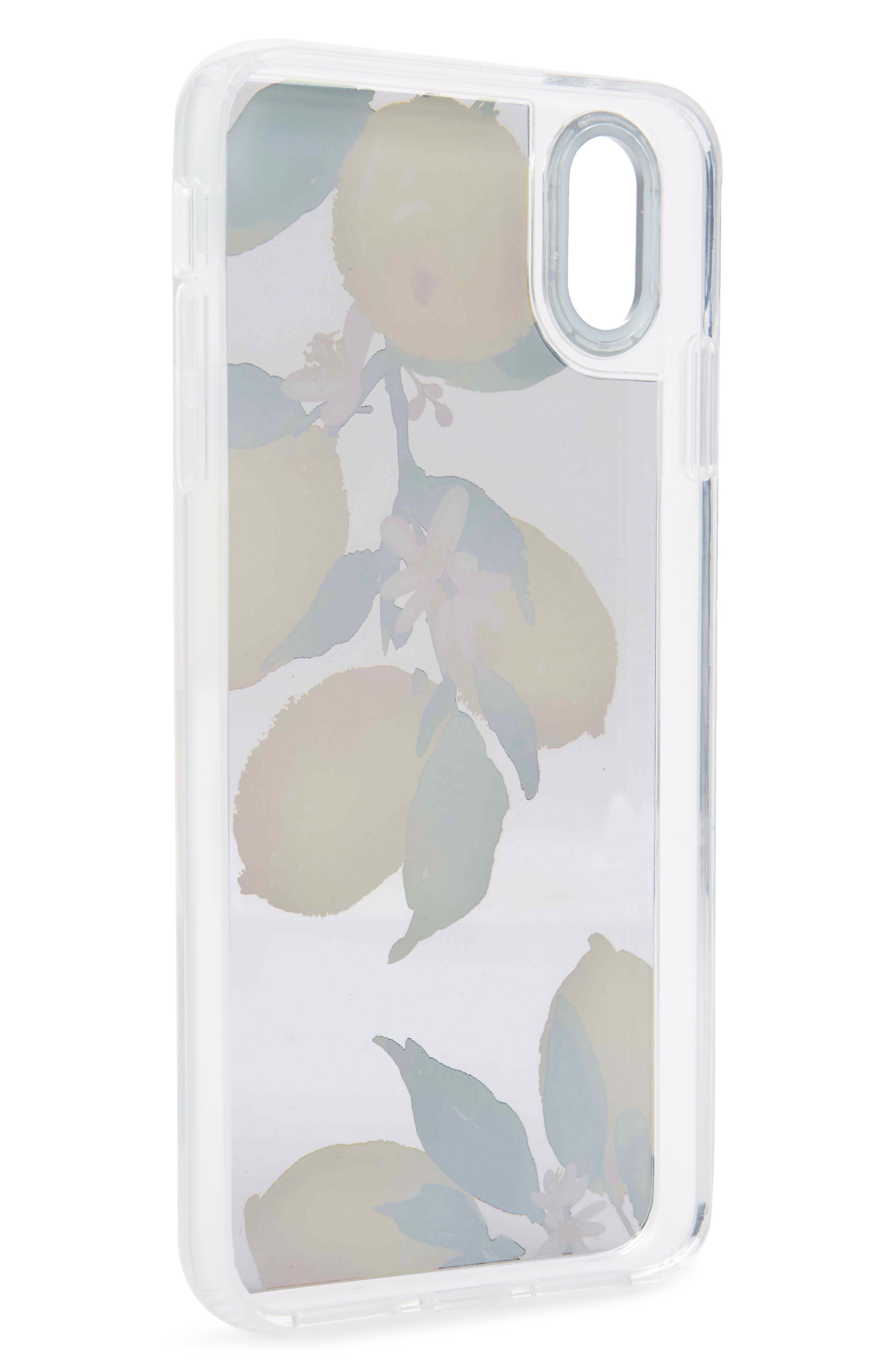 Watercolor Lemon Clear Grip iPhone X/Xs, XR & X Max Case,                             Alternate thumbnail 2, color,                             YELLOW/ GREEN