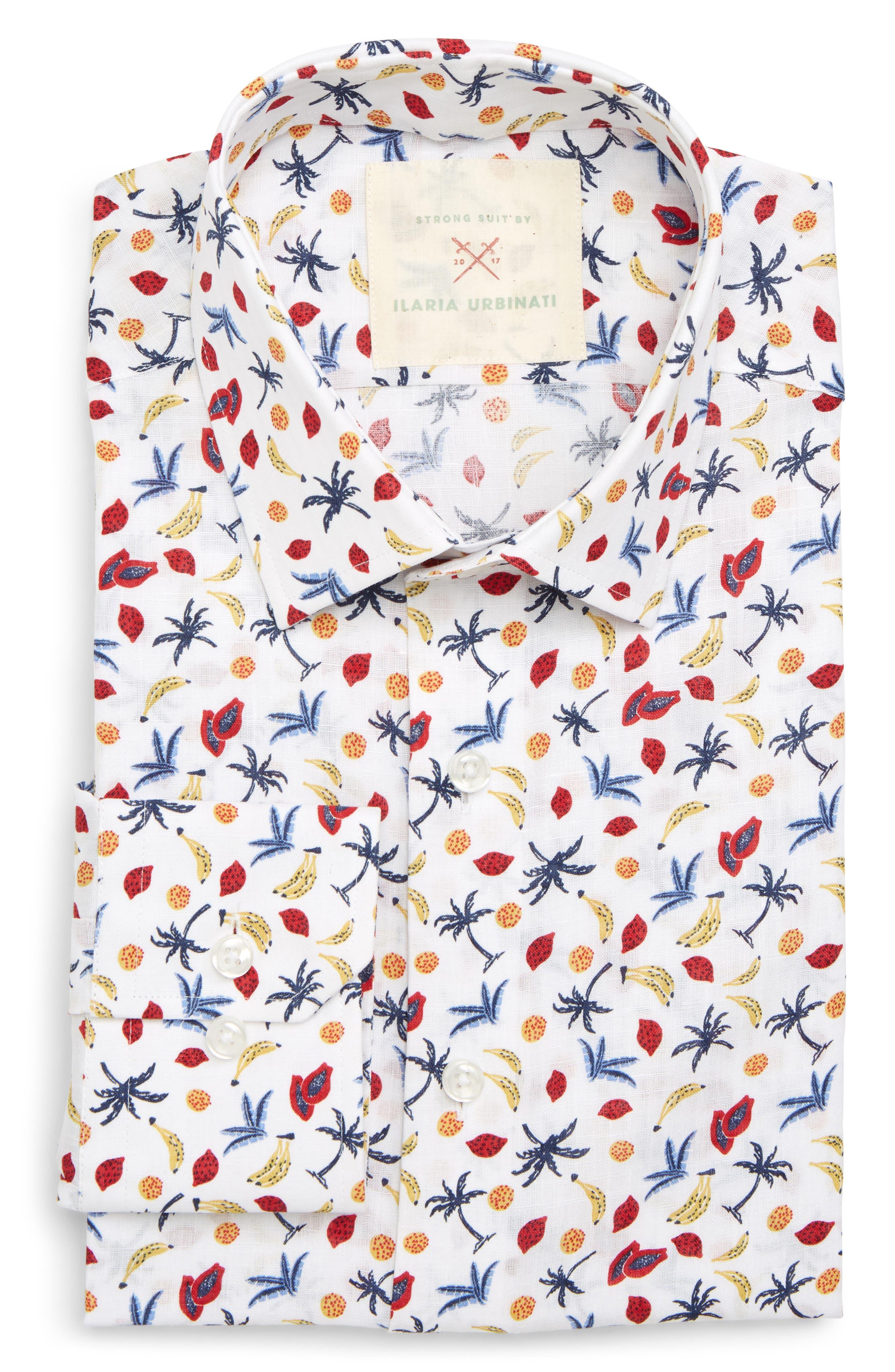 by Ilaria Urbinati Slim Fit Tropical Print Dress Shirt,                             Main thumbnail 1, color,                             410