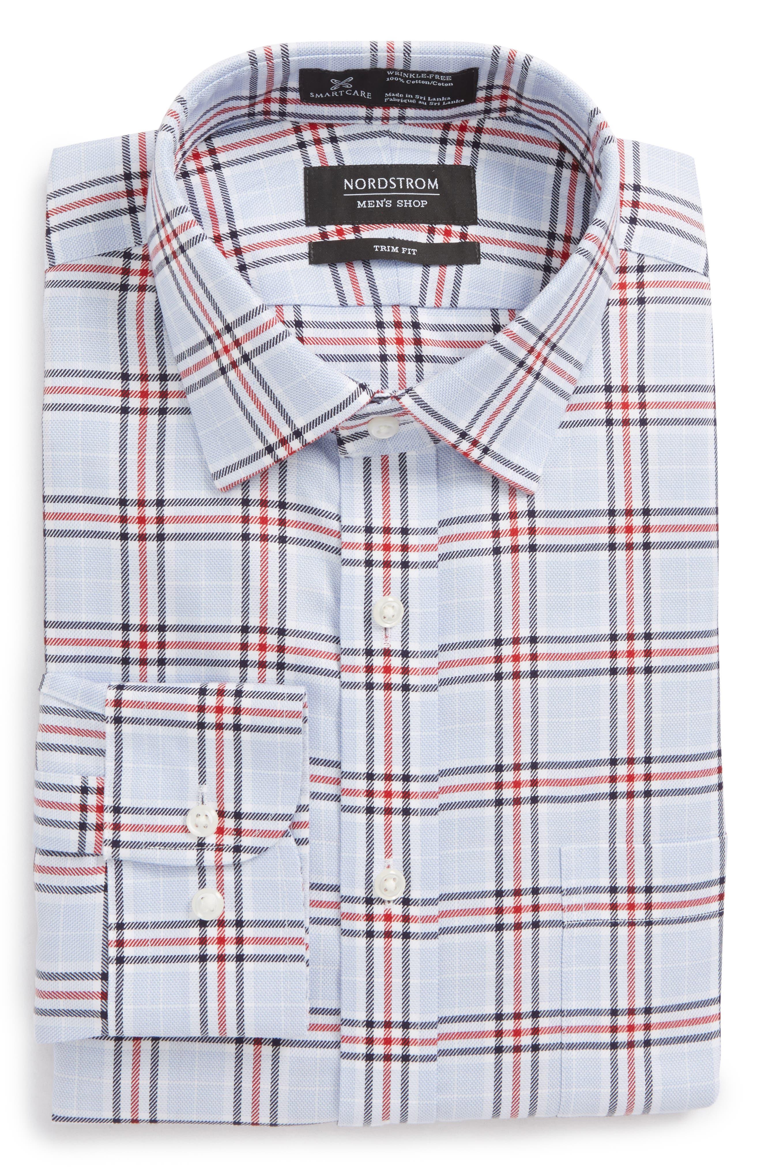 Smartcare<sup>™</sup> Trim Fit Plaid Dress Shirt,                             Alternate thumbnail 5, color,                             601