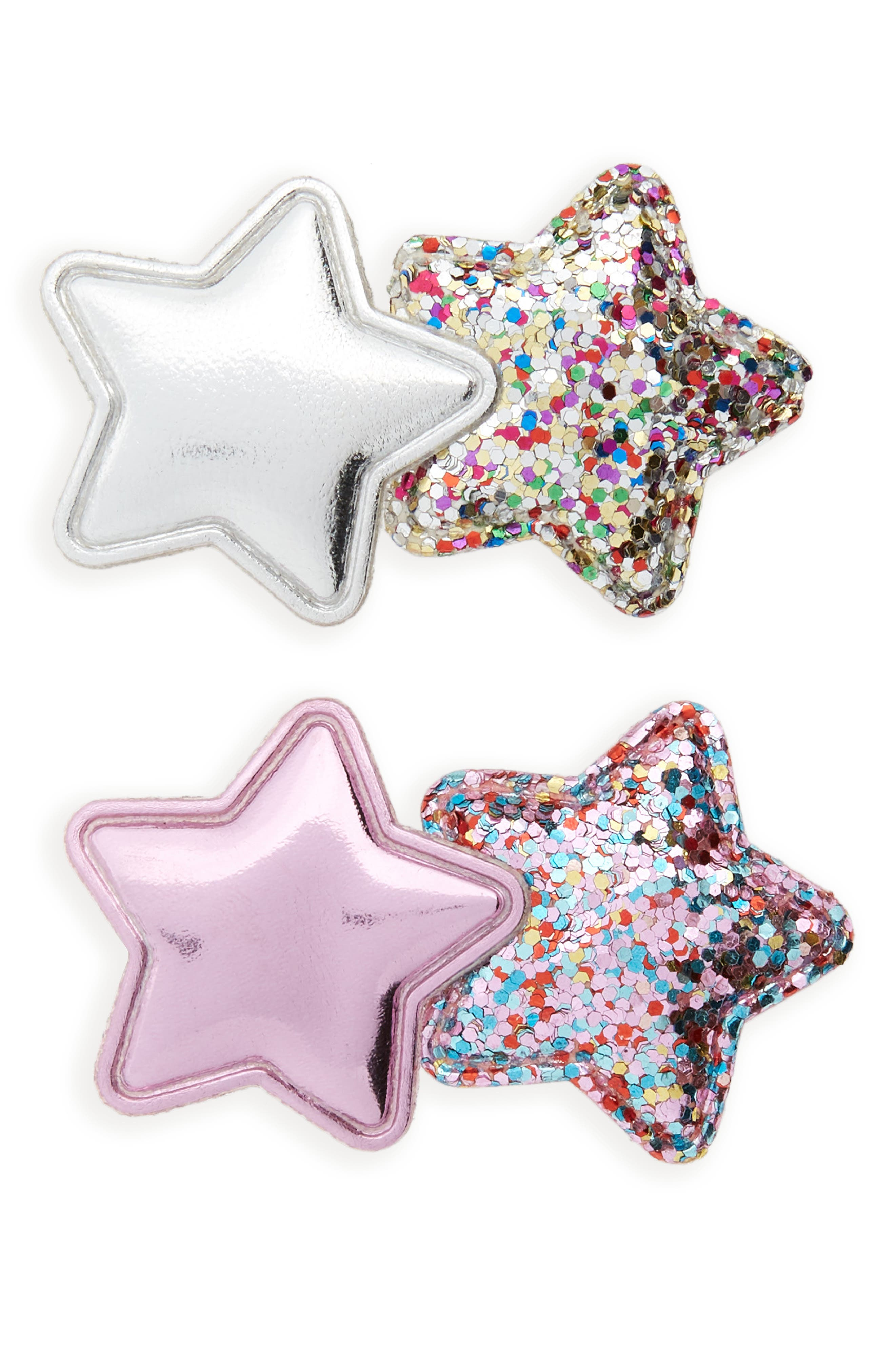 2-Pack Glitter Star Hair Clips,                             Main thumbnail 1, color,                             SILVER/ PINK