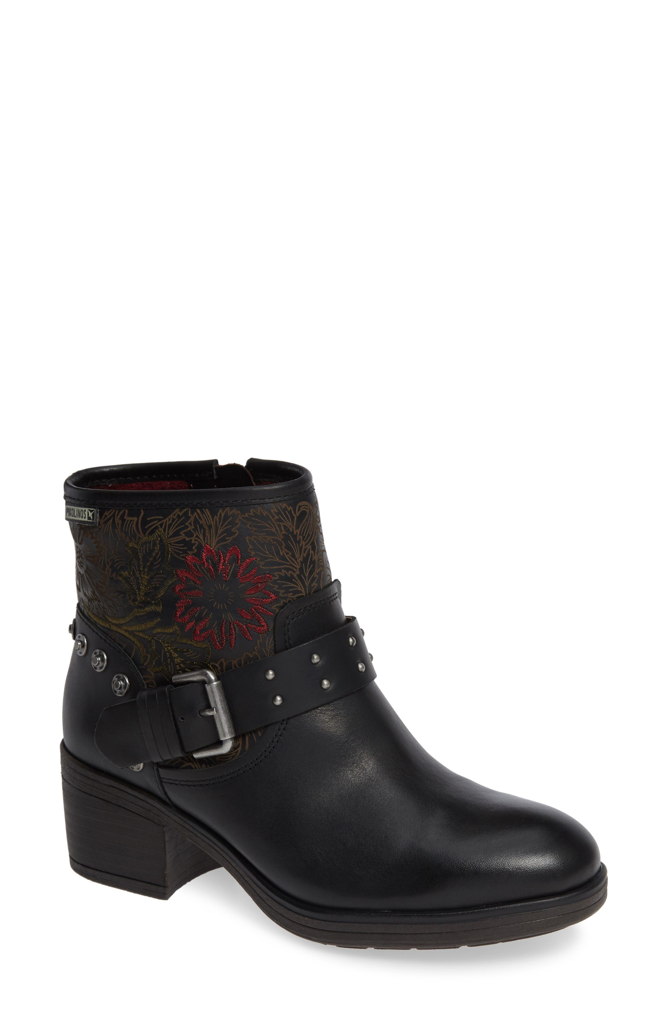 Lyon Embroidered Engineer Bootie,                             Main thumbnail 1, color,                             BLACK LEATHER