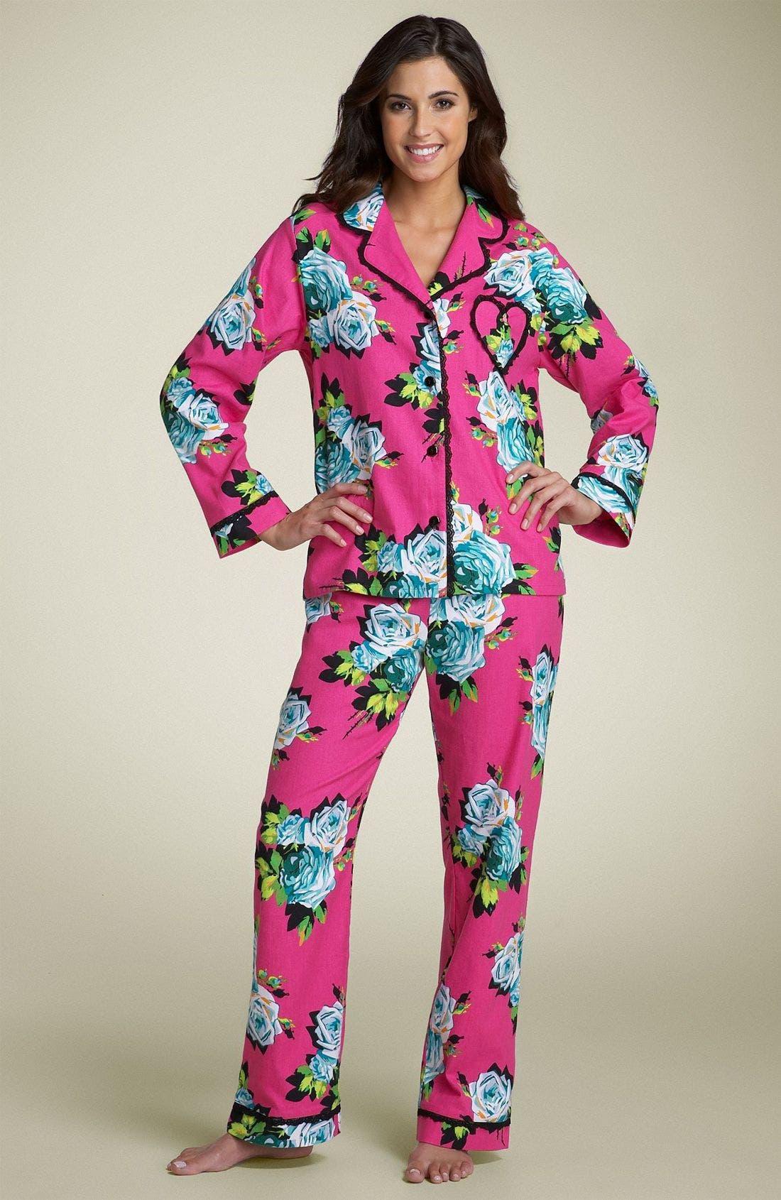 Floral Flannel Pajamas,                             Main thumbnail 1, color,                             693