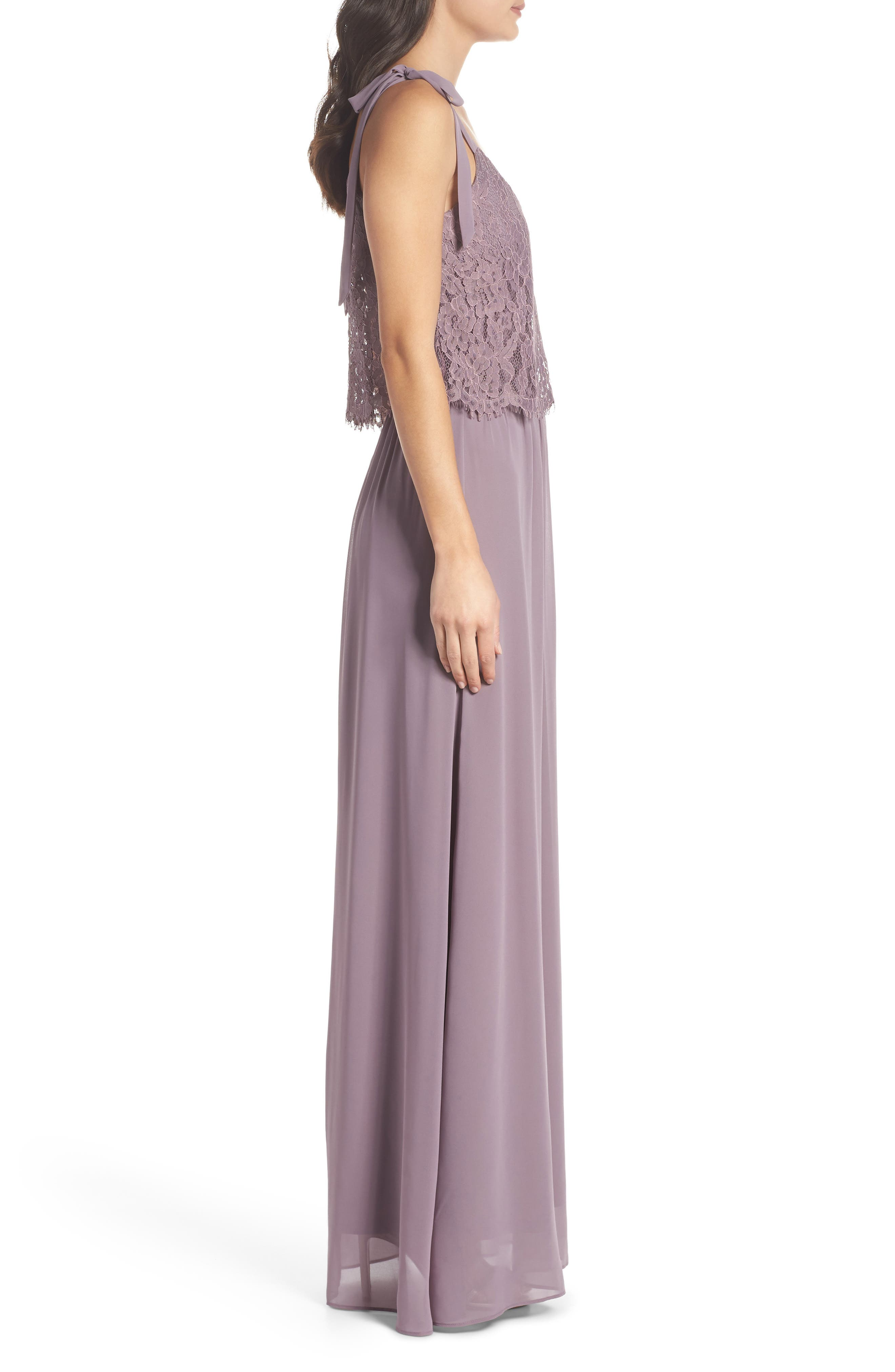 Koko Tie Shoulder Lace Bodice Gown,                             Alternate thumbnail 3, color,                             LILAC
