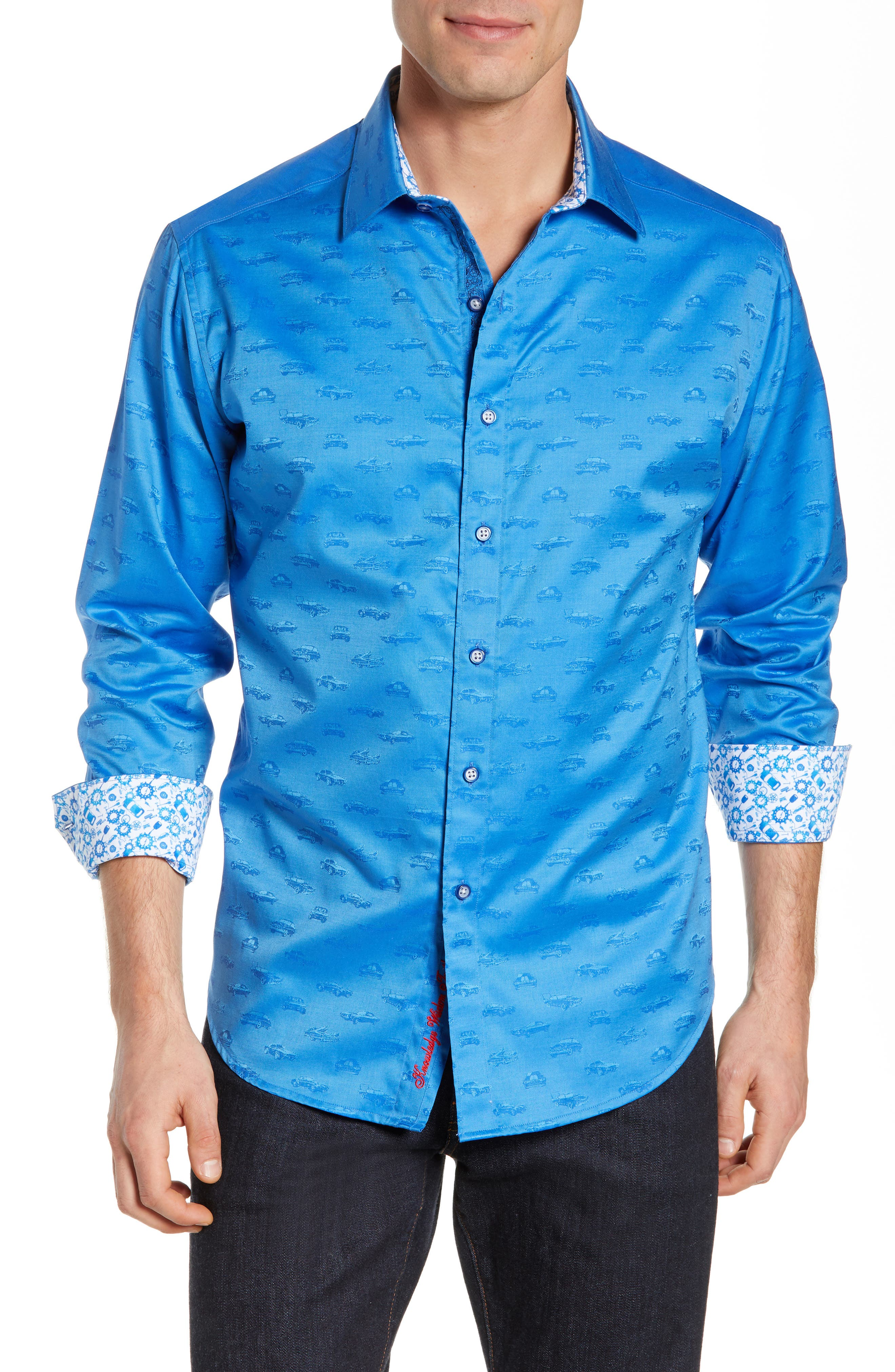 ROBERT GRAHAM Car Enthusiast Jacquard Sport Shirt, Main, color, COBALT