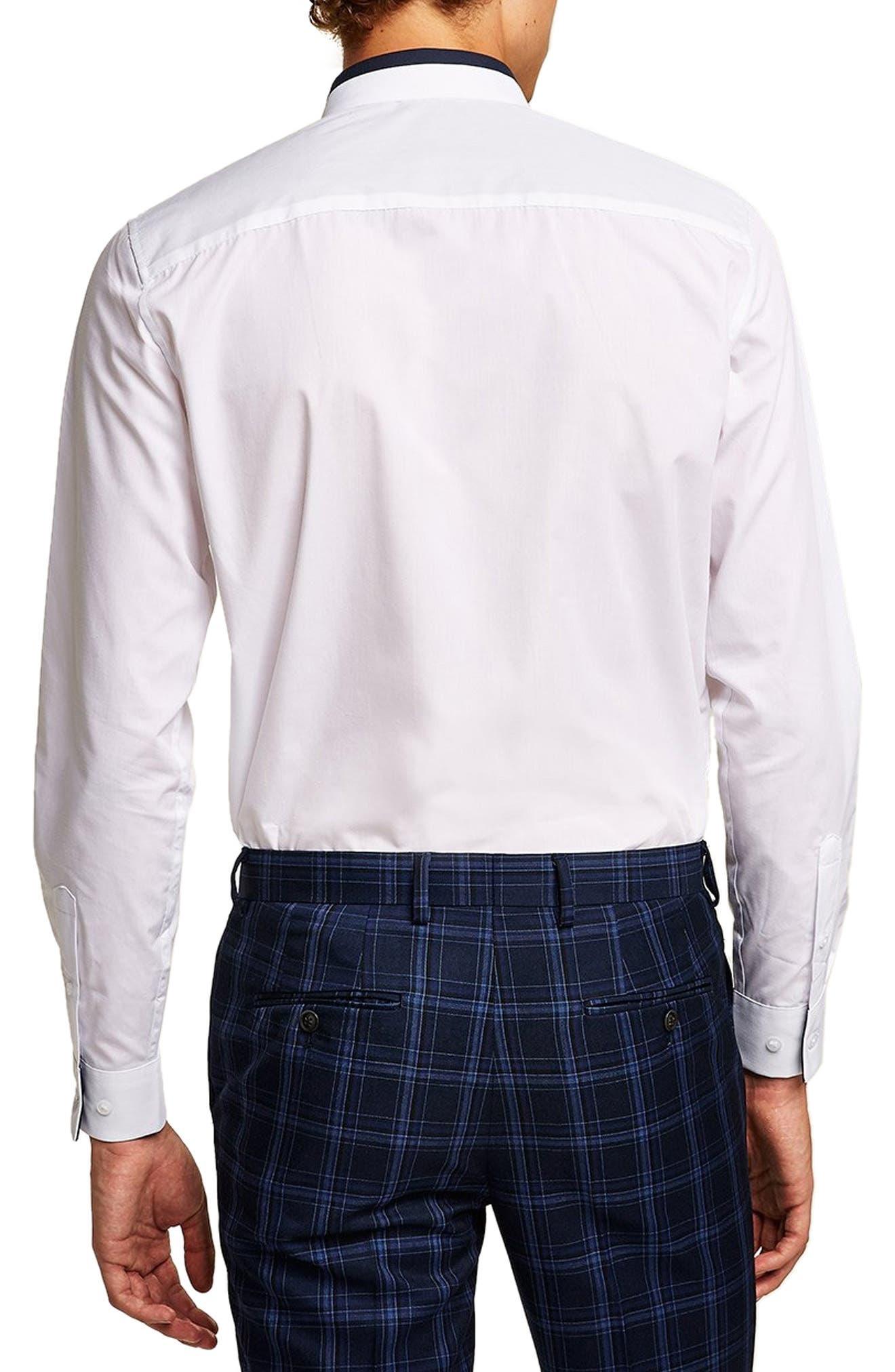 Slim Fit Panel Collar Shirt,                             Alternate thumbnail 3, color,                             100