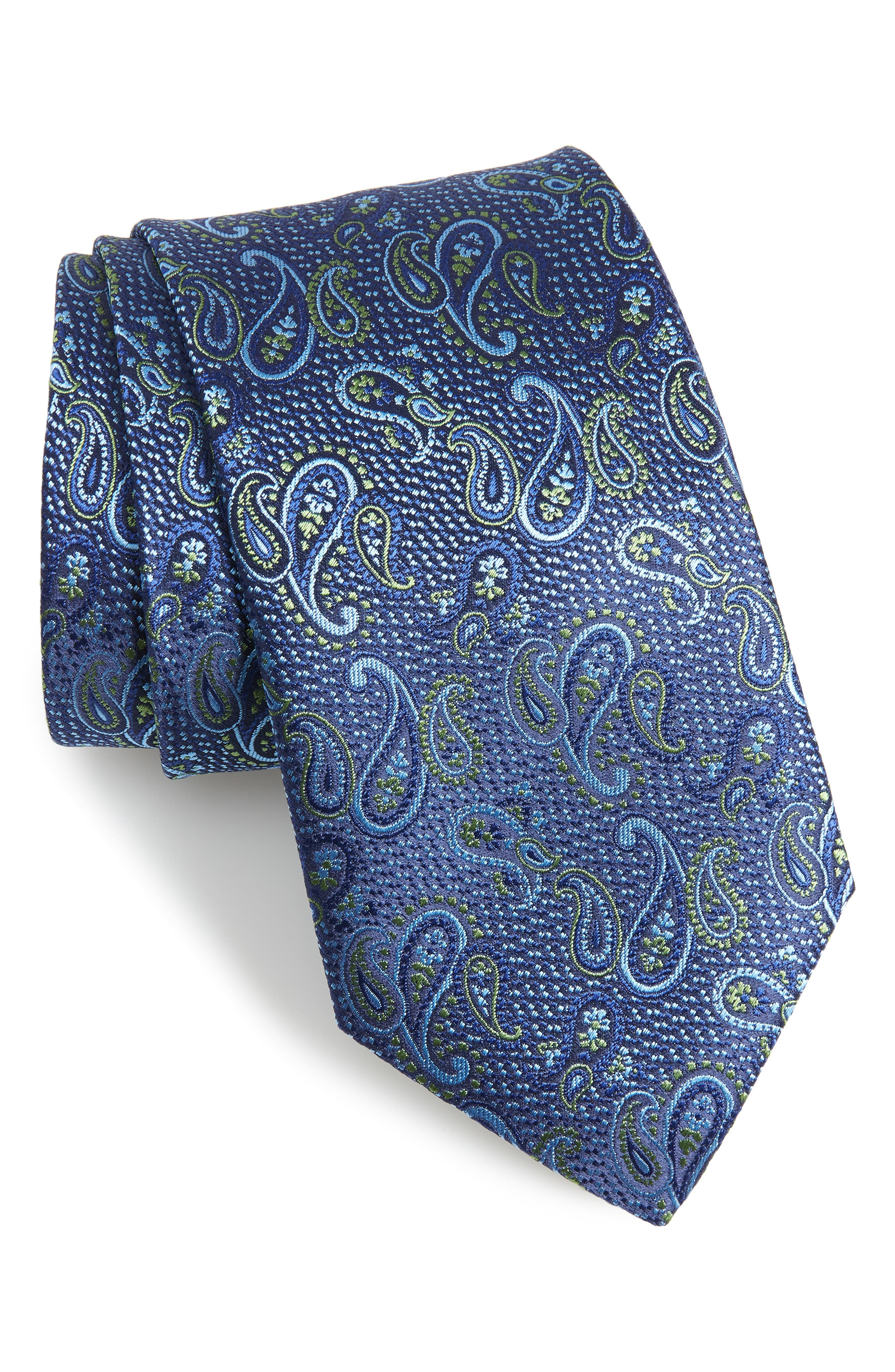 Paisley Silk X-Long Tie,                         Main,                         color, OLIVE