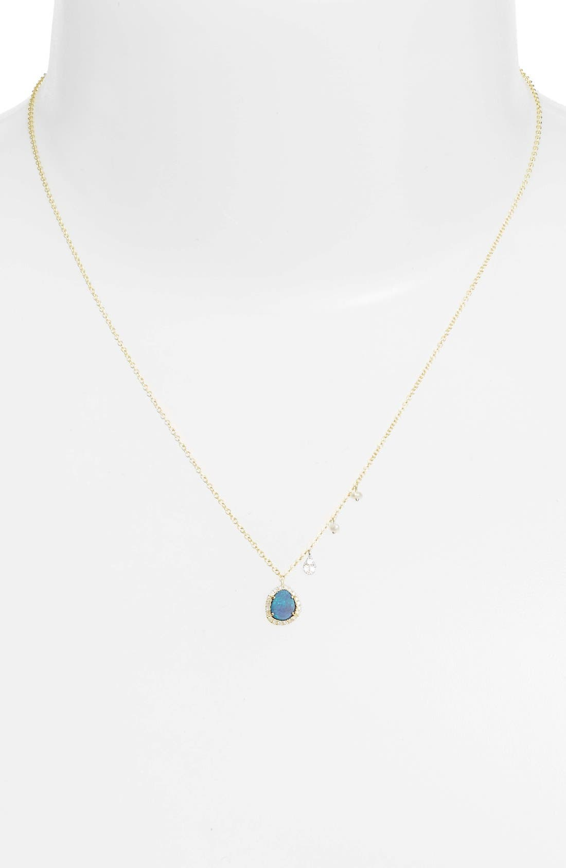 Mini Stone Diamond Pendant Necklace,                             Alternate thumbnail 4, color,                             YELLOW GOLD/ OPAL
