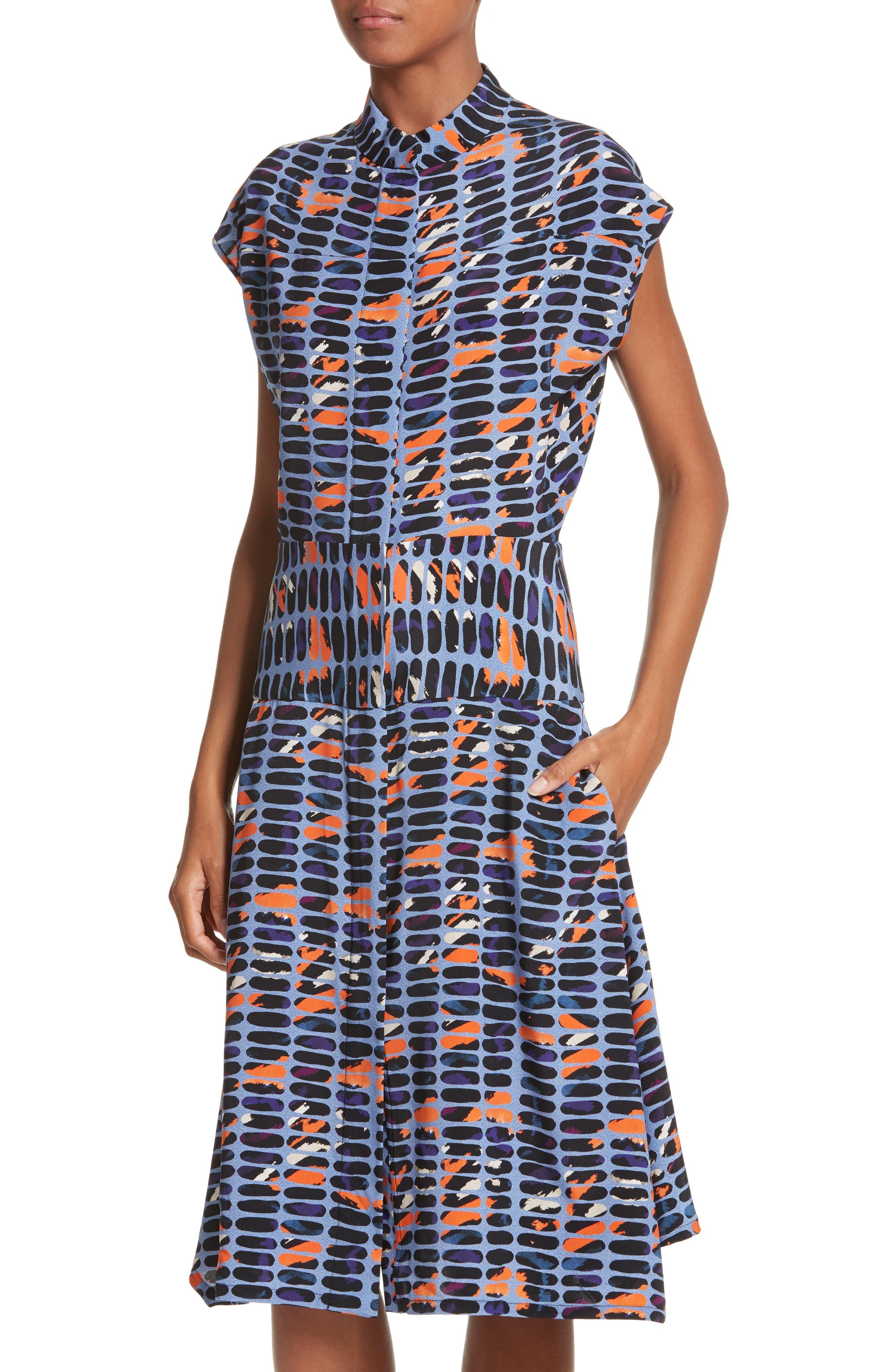 Pill Print Stretch Silk Dress,                             Alternate thumbnail 4, color,                             465