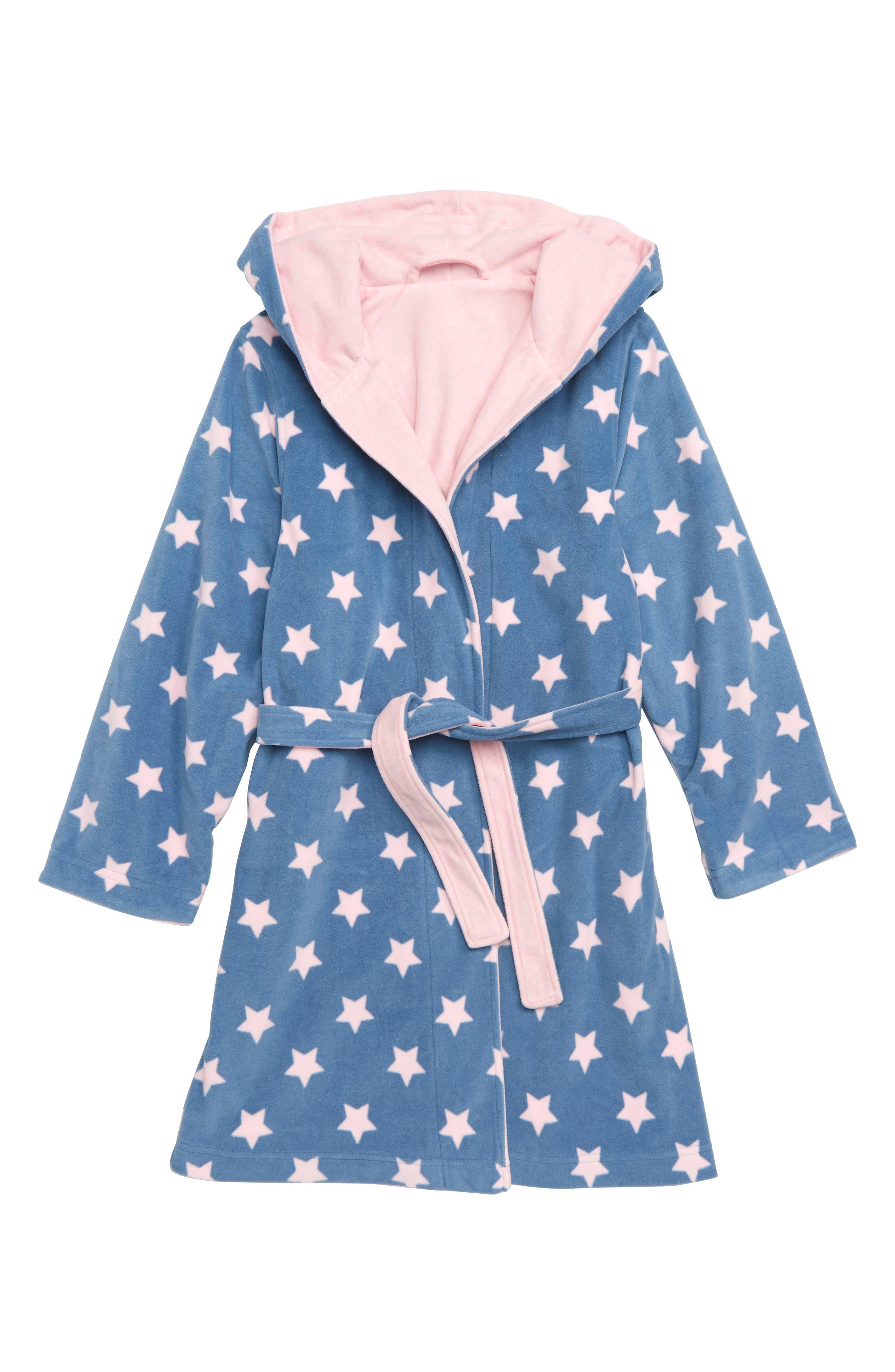 Reversible Fleece Robe,                             Alternate thumbnail 2, color,                             PINK BABY HEATHER STARS