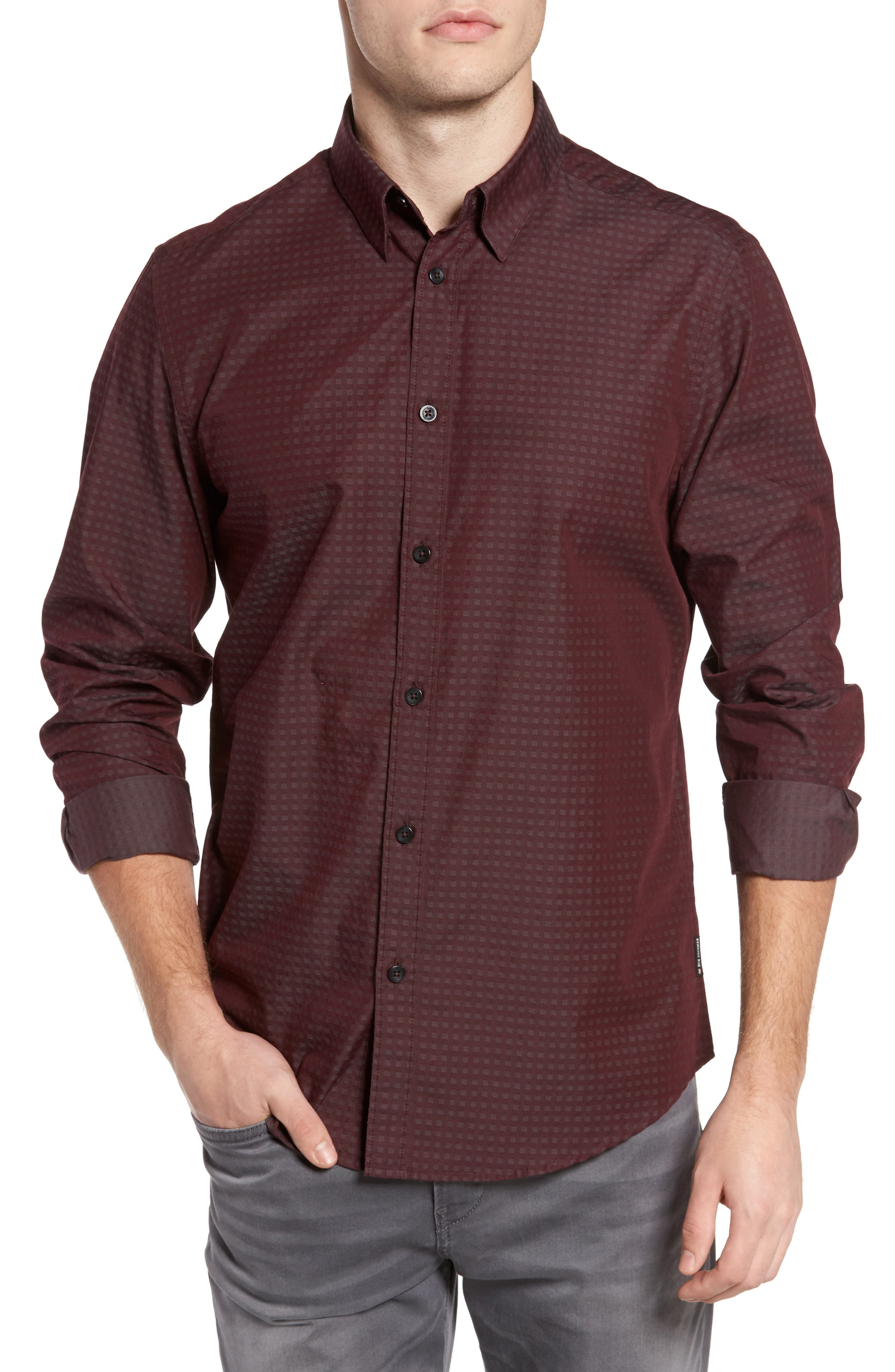 Dobby Checkerboard Woven Shirt,                         Main,                         color,