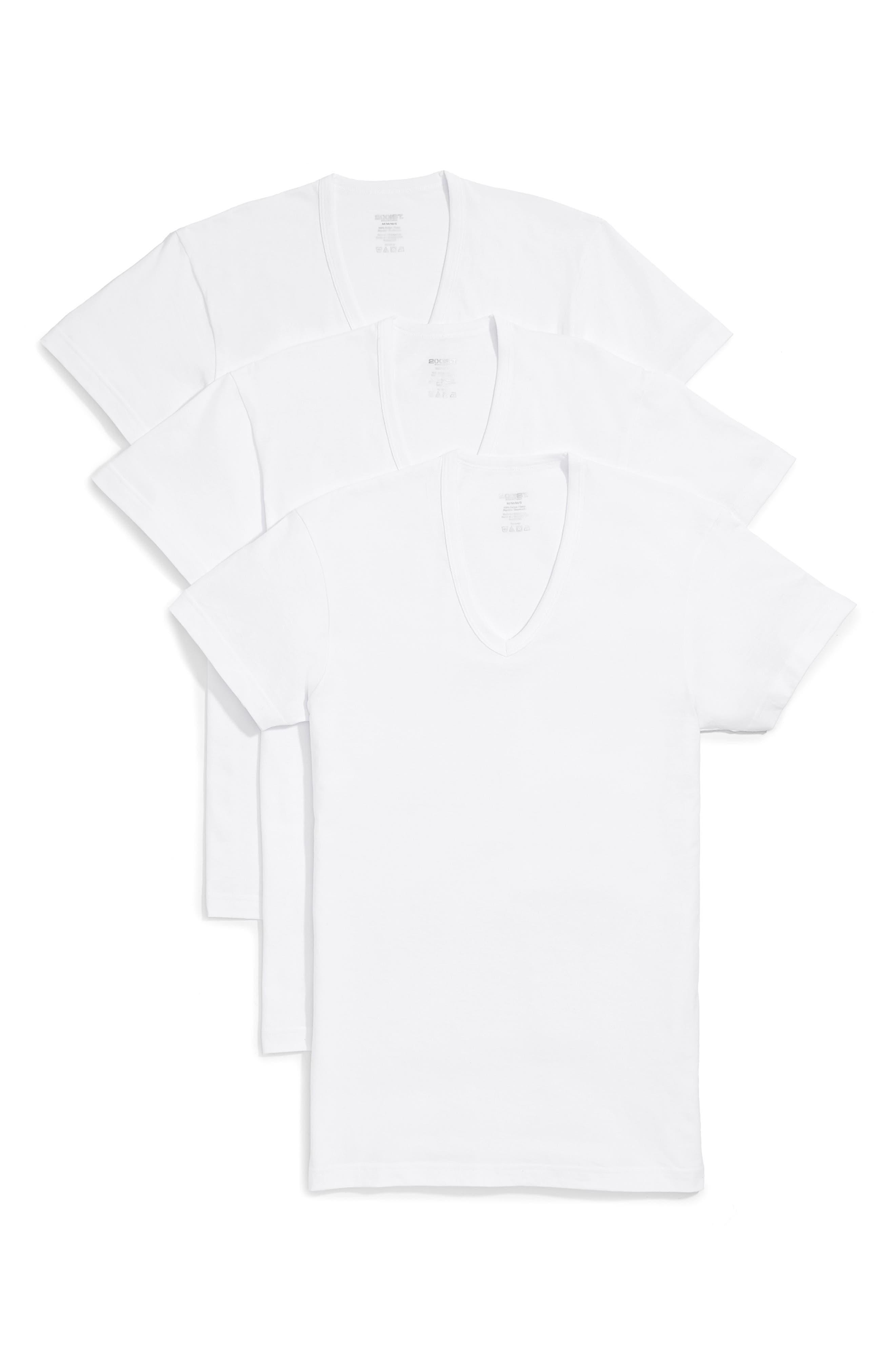 Slim Fit 3-Pack Cotton T-Shirt,                         Main,                         color, WHITE NEW LOGO