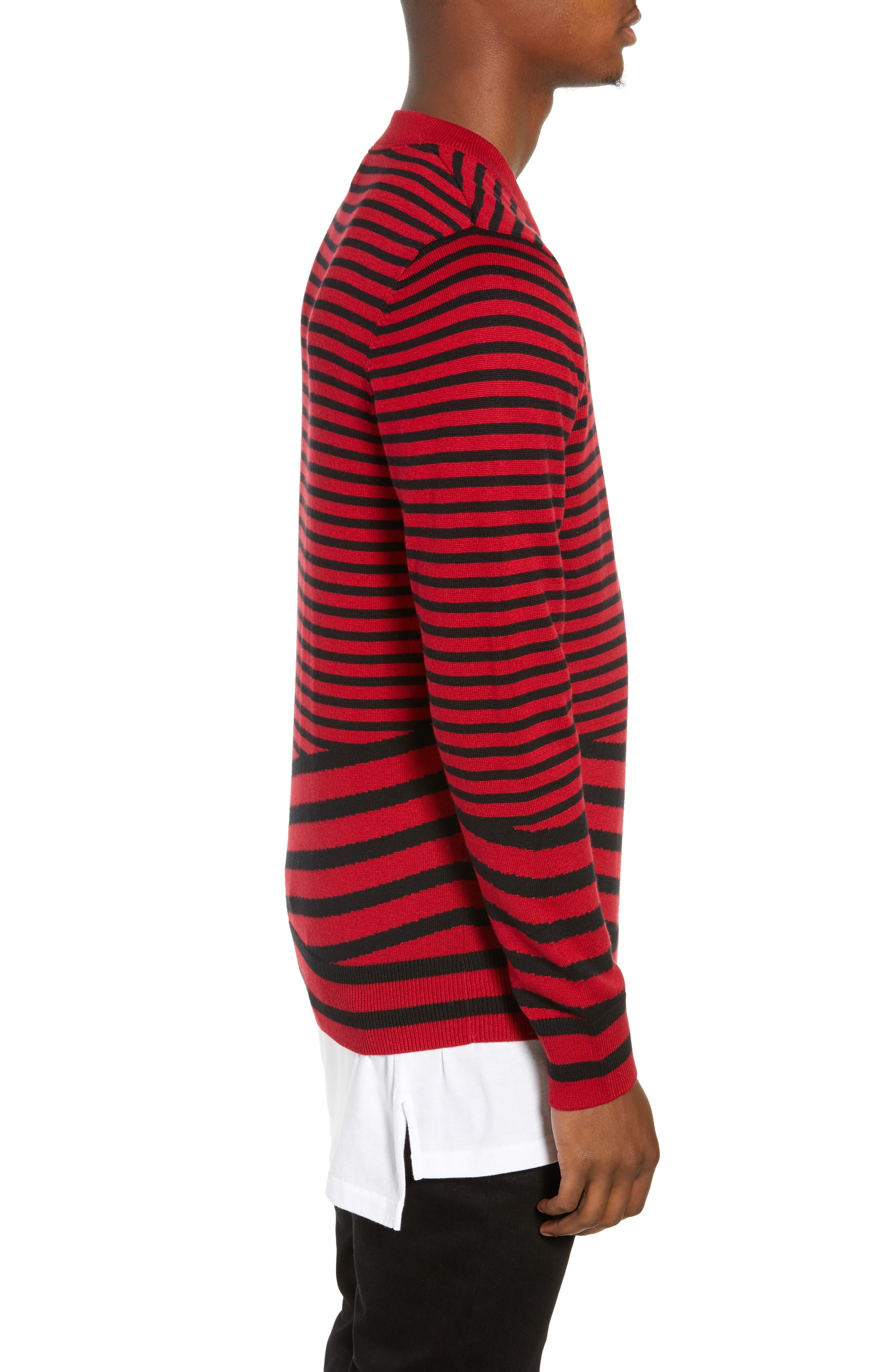 Asymmetrical Stripe Longline Sweater,                             Alternate thumbnail 3, color,                             RED BLACK RETRO STRIPE