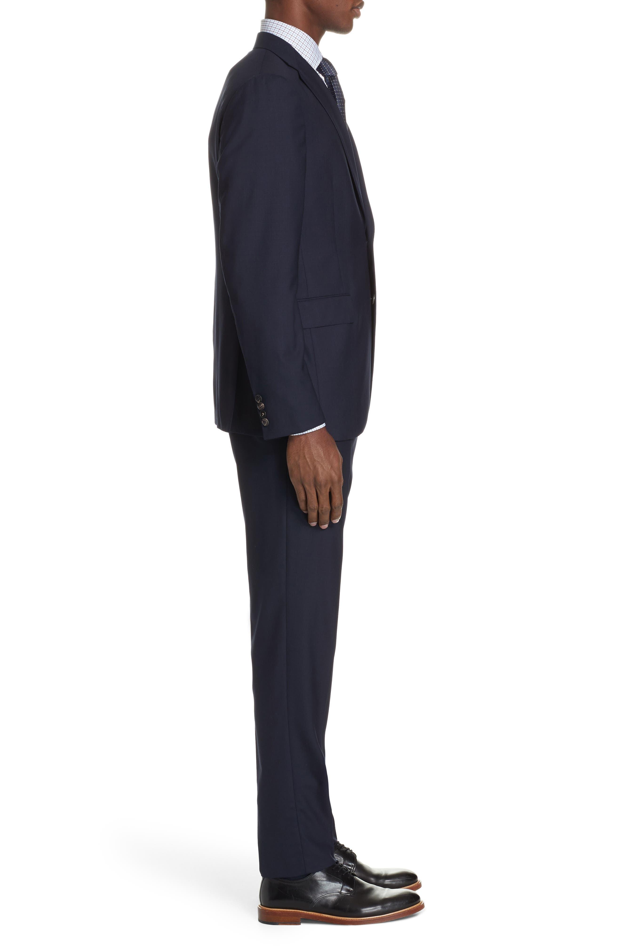 Milano Trim Fit Solid Wool Suit,                             Alternate thumbnail 3, color,                             NAVY