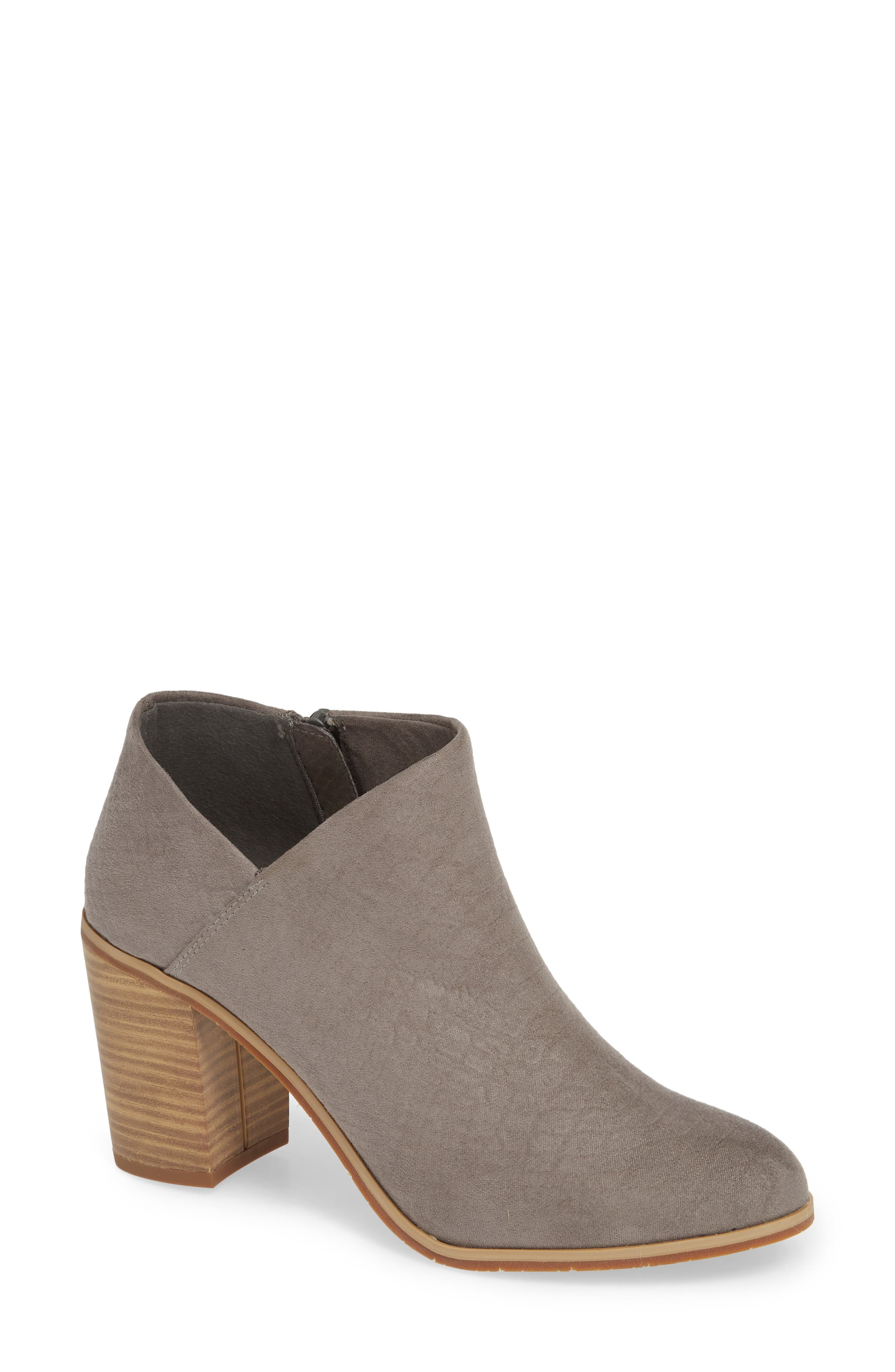 BC FOOTWEAR,                             Kettle Block Heel Bootie,                             Main thumbnail 1, color,                             GREY VEGAN SUEDE