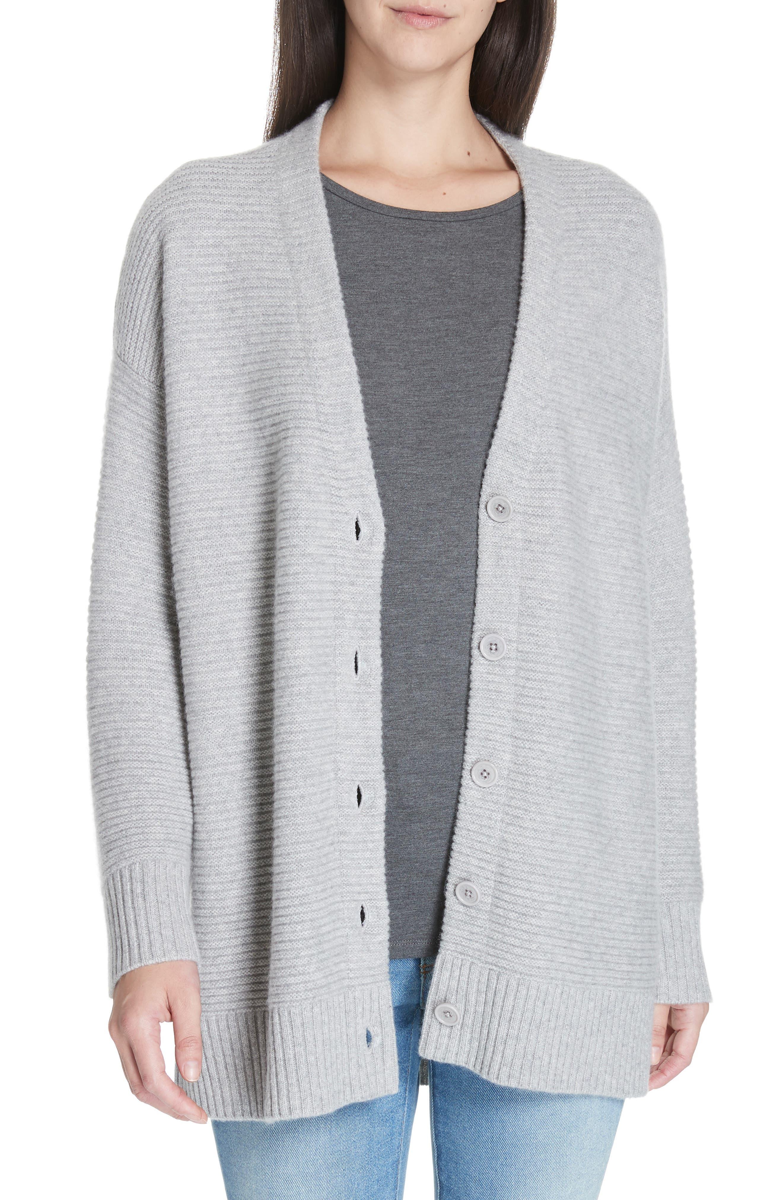 Cashmere Blend V-Neck Cardigan, Main, color, DARK PEARL