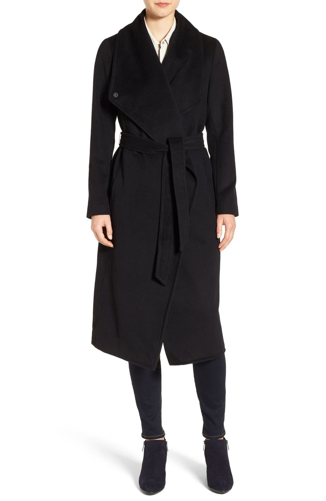 Drape Front Wrap Coat,                             Main thumbnail 1, color,                             001