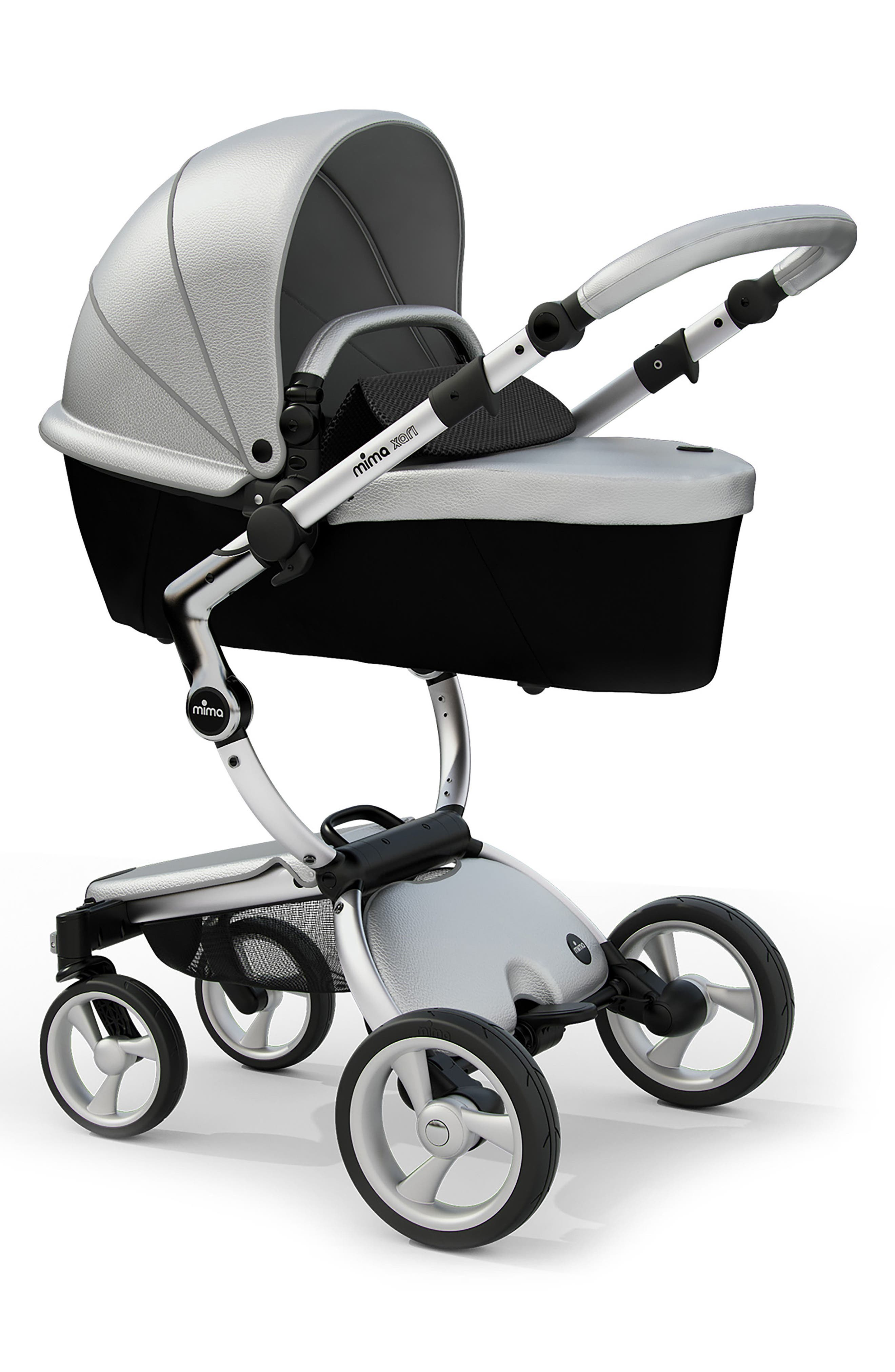 Xari Aluminum Chassis Stroller with Reversible Reclining Seat & Carrycot,                             Alternate thumbnail 2, color,                             ARGENTO / BLACK