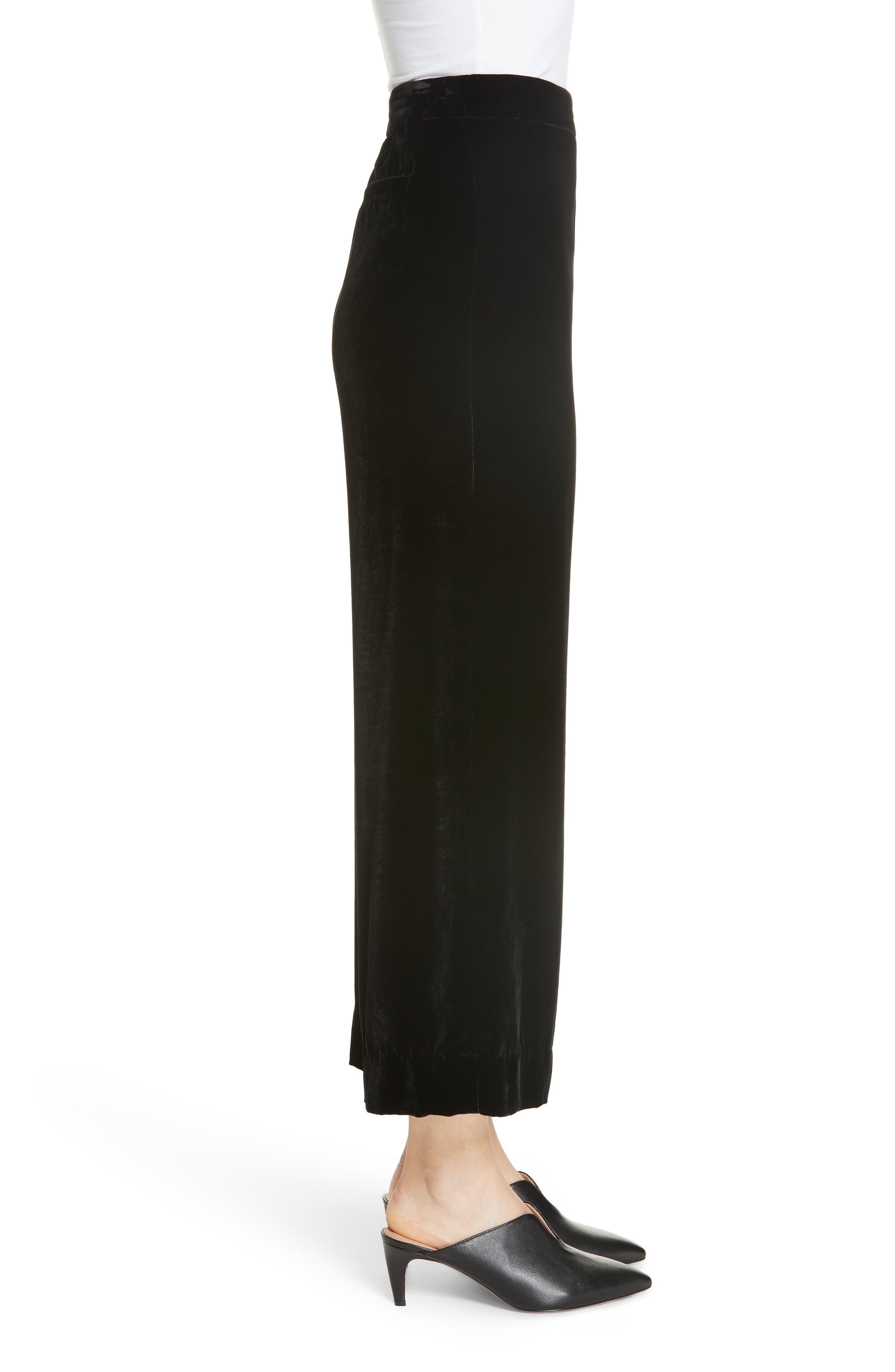 Wide Leg Crop Velvet Pants,                             Alternate thumbnail 3, color,                             BLACK