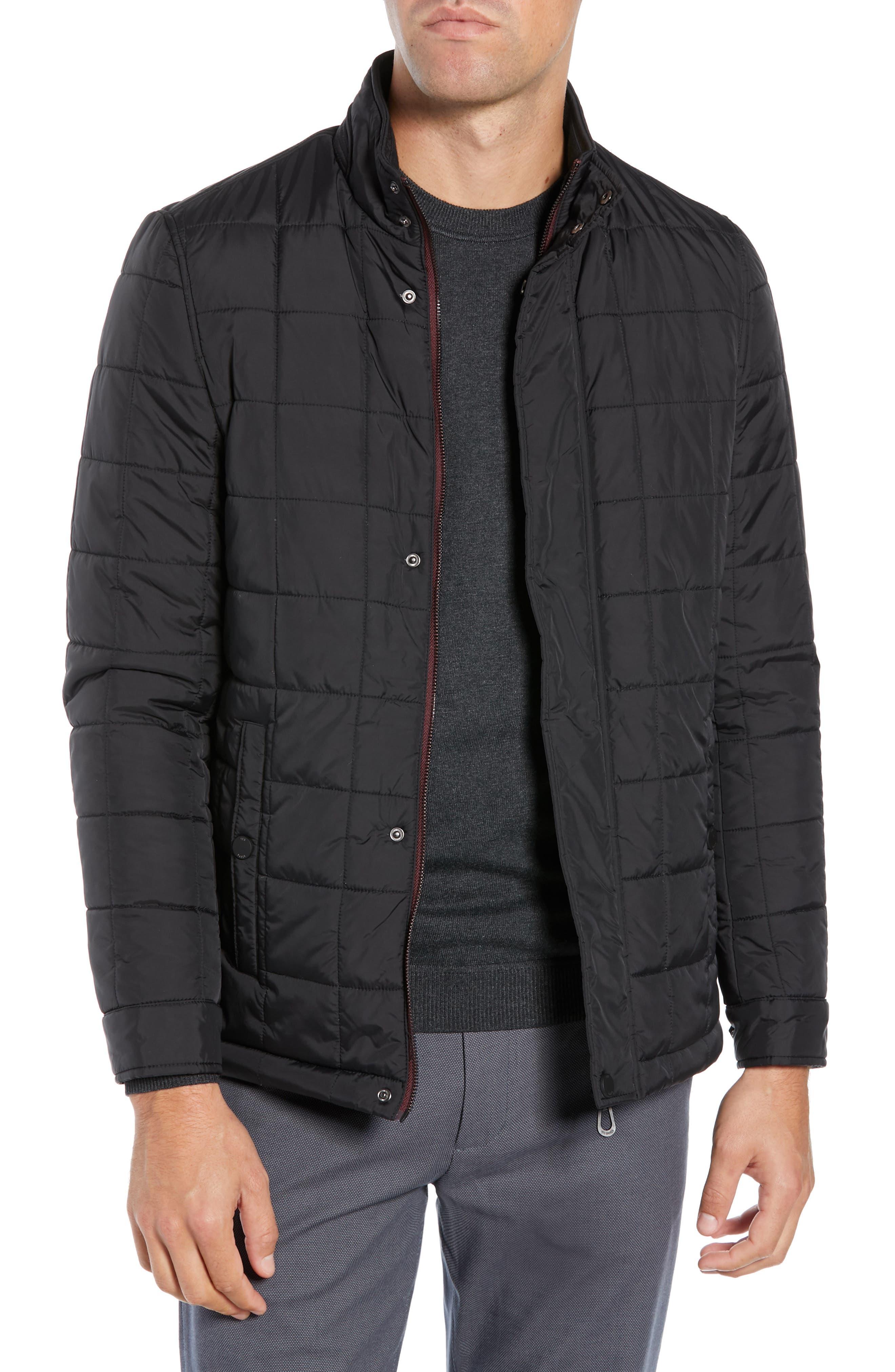 Lesta Quilted Slim Fit Jacket,                             Main thumbnail 1, color,                             BLACK