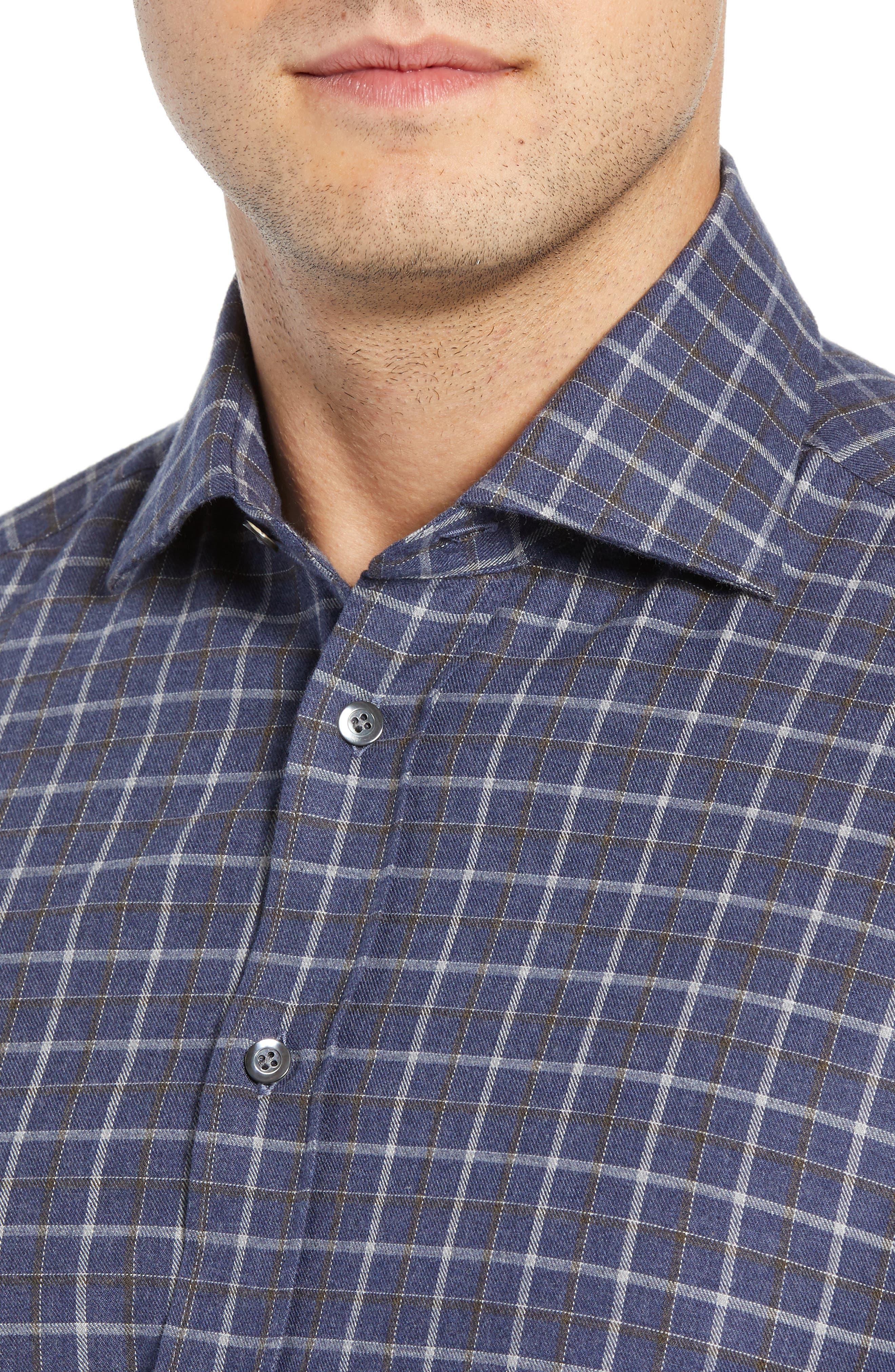 Slim Fit Check Dress Shirt,                             Alternate thumbnail 2, color,                             NAVY