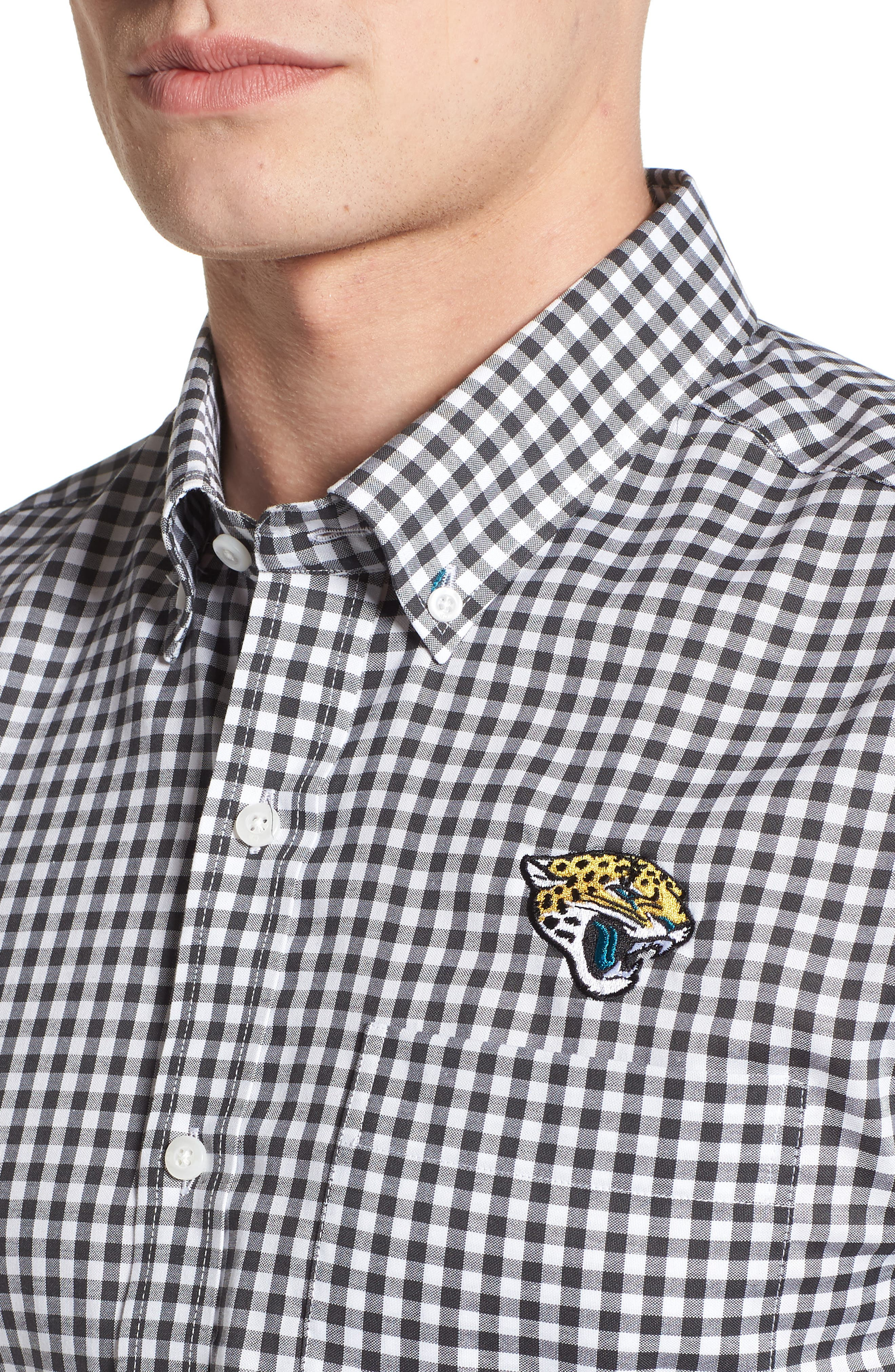 League Jacksonville Jaguars Regular Fit Shirt,                             Alternate thumbnail 4, color,                             CHARCOAL