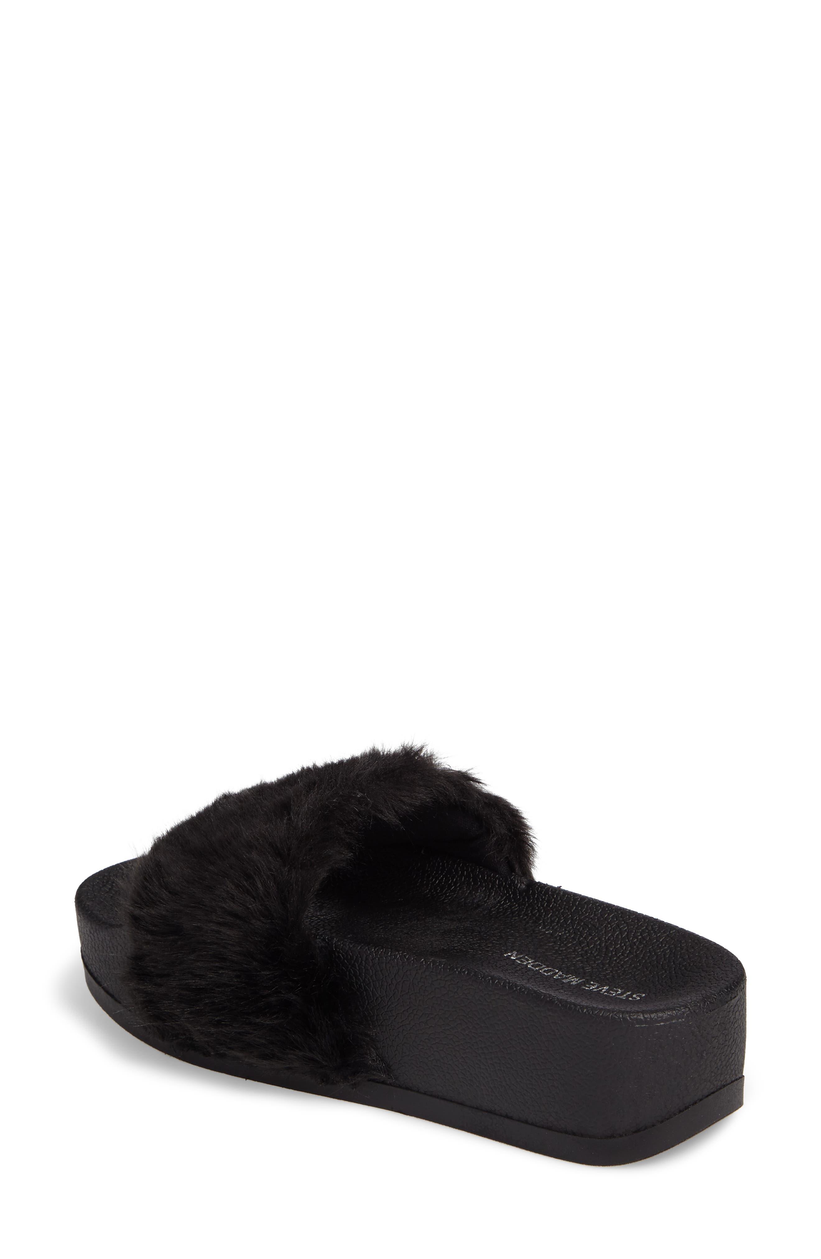 STEVE MADDEN,                             Softey Faux Fur Platform Slide,                             Alternate thumbnail 2, color,                             001