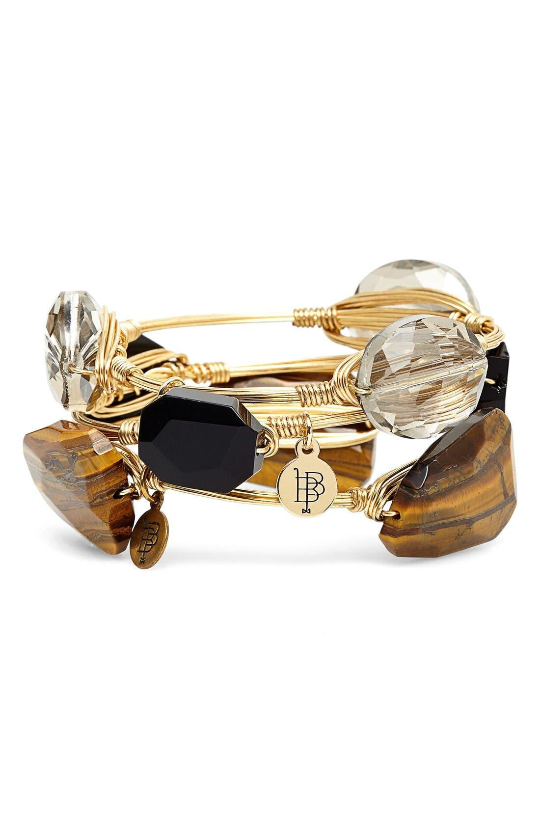 'Tiger's Eye Agate & Jet Acrylic Crystal' Stone Bracelets,                             Alternate thumbnail 3, color,                             200