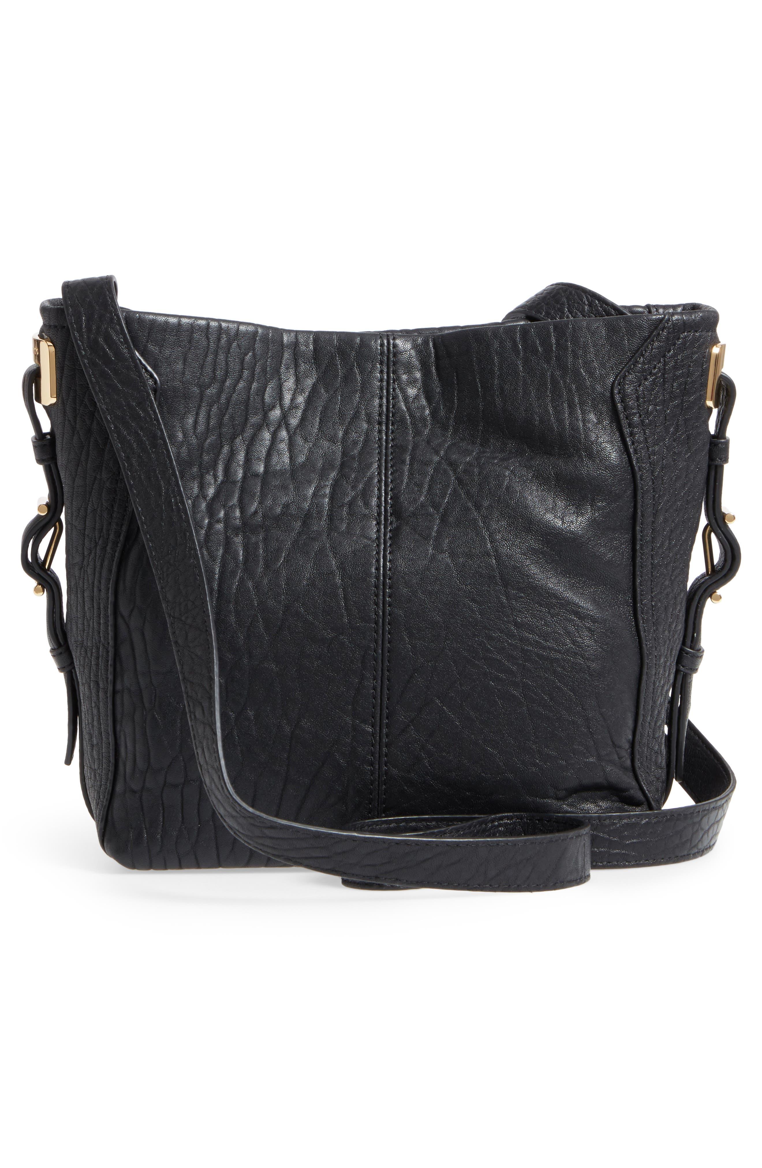 Fava Leather Bucket Bag,                             Alternate thumbnail 3, color,                             001