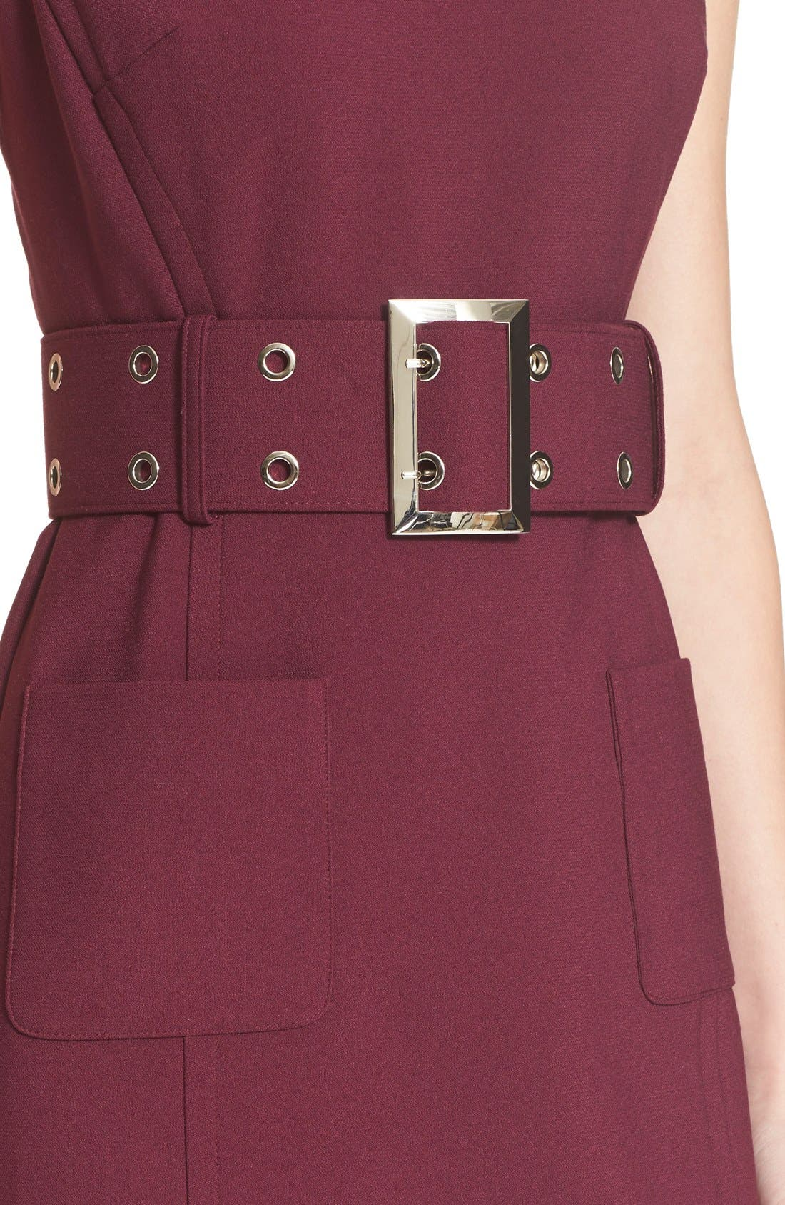 Double Crepe Belted Minidress,                             Alternate thumbnail 4, color,                             607