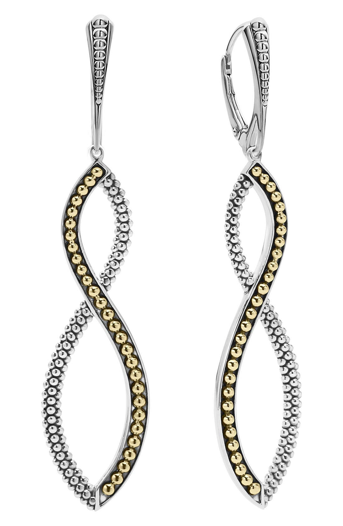Infinity Twist Drop Earrings,                             Alternate thumbnail 3, color,                             SILVER/ GOLD