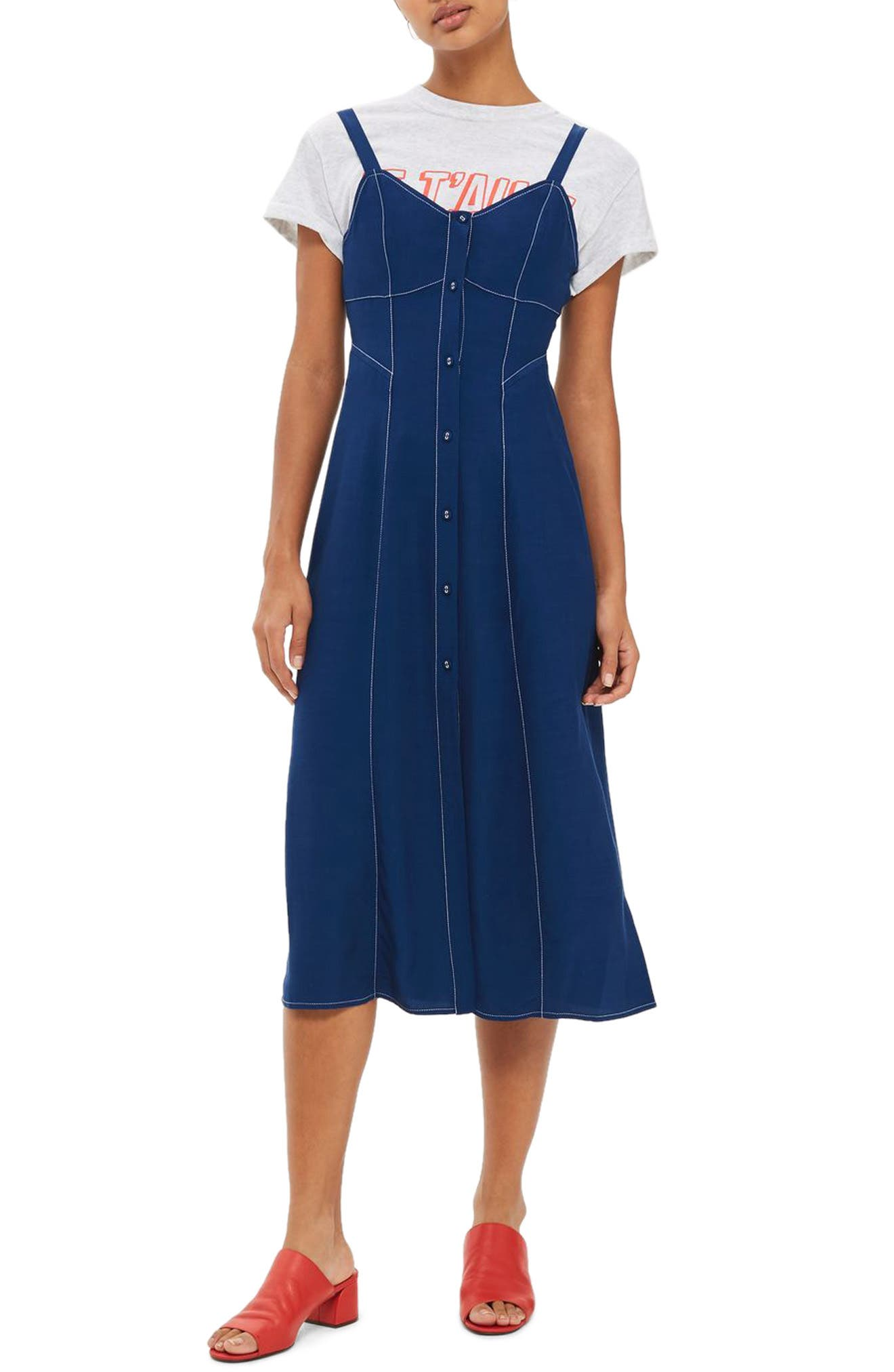 Topstitch Corset Midi Dress,                             Main thumbnail 1, color,                             410