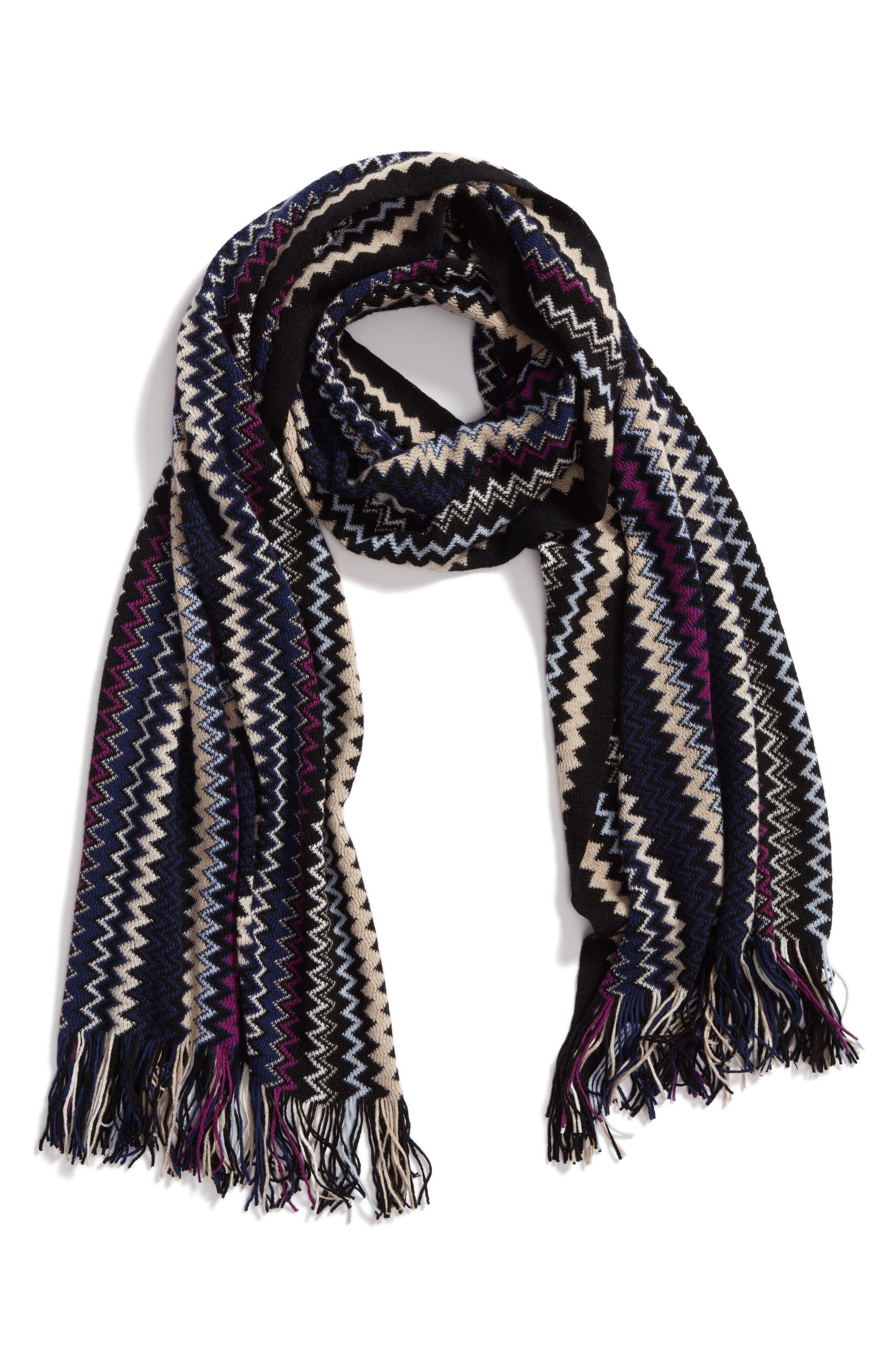Zigzag Fringe Cashmere Scarf,                             Alternate thumbnail 5, color,