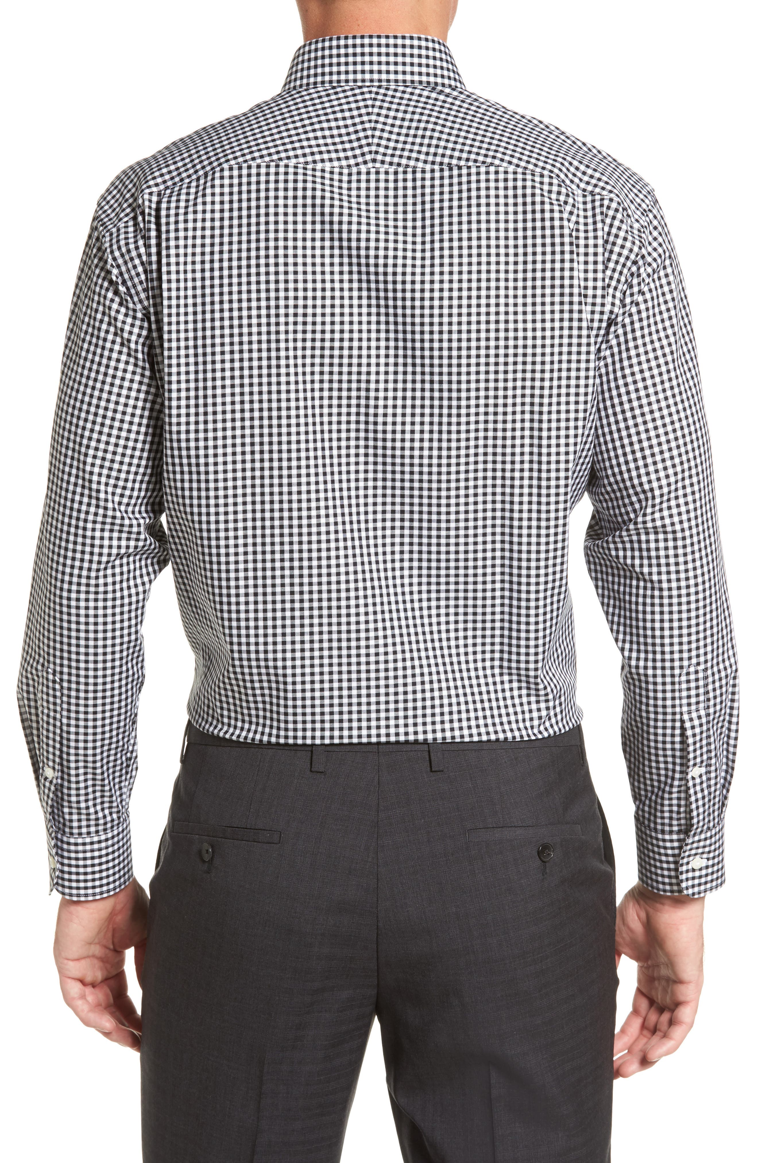 Classic Fit Non-Iron Gingham Dress Shirt,                             Alternate thumbnail 2, color,                             BLACK ROCK