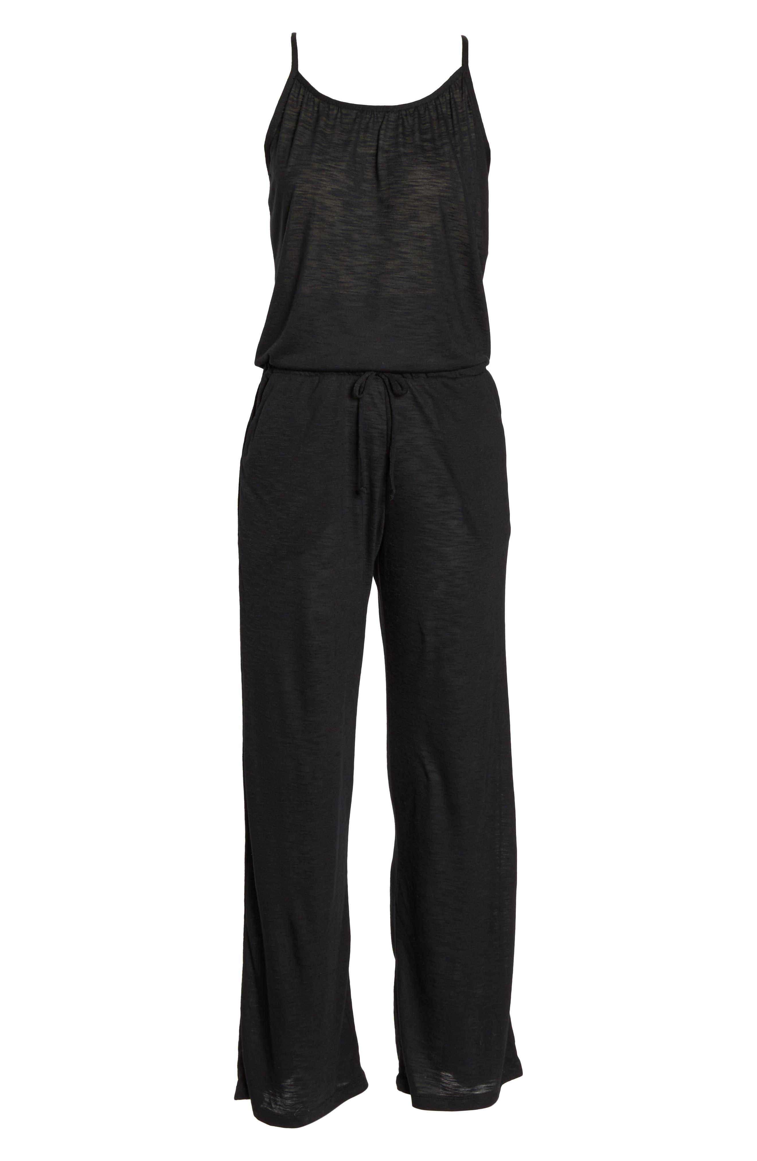 Breezy Basics Jumpsuit,                             Alternate thumbnail 6, color,                             BLACK