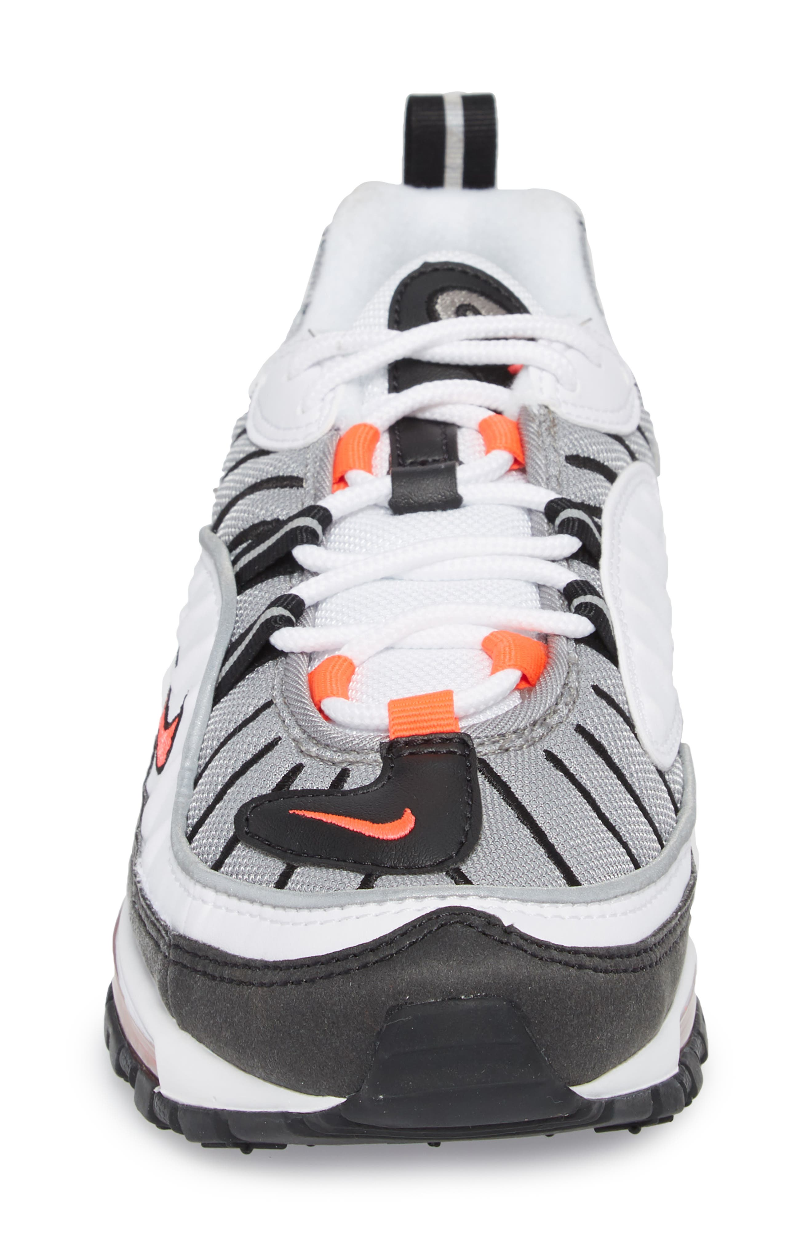 Air Max 98 Running Shoe,                             Alternate thumbnail 4, color,                             WHITE/ RED/ DUST/ REFLECT
