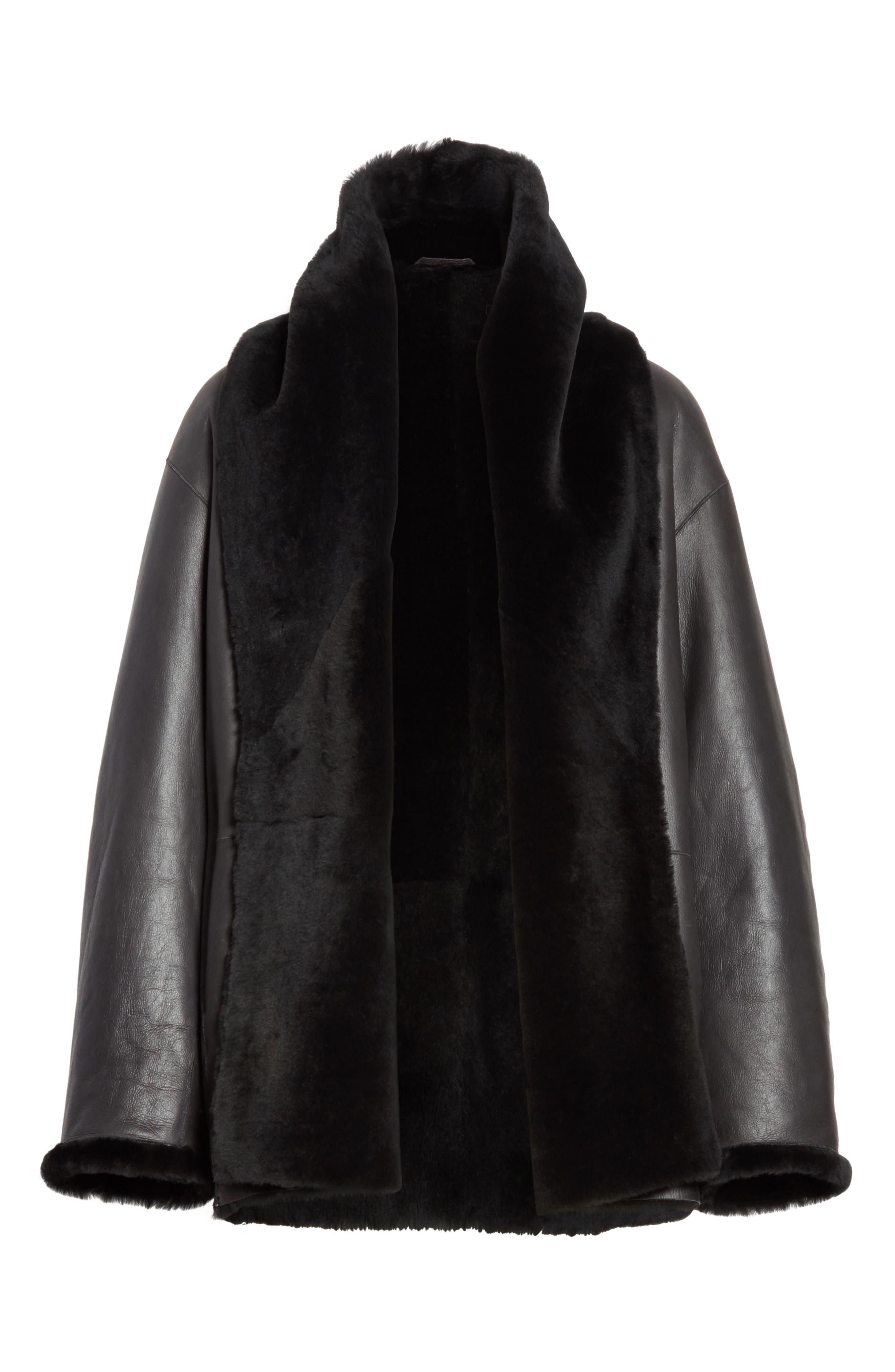 Shawl Collar Genuine Shearling Reversible Coat,                             Alternate thumbnail 5, color,                             012