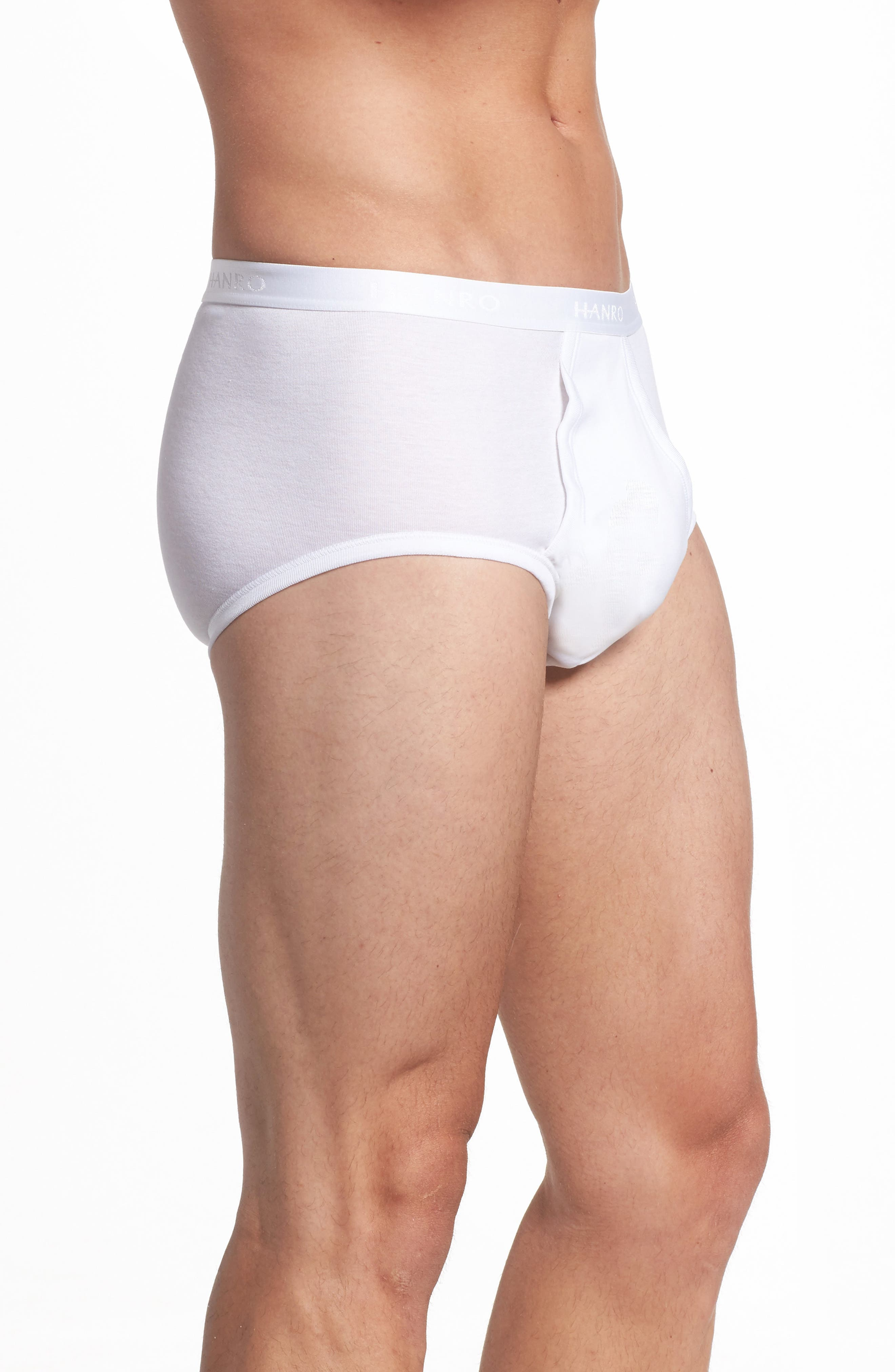 Cotton Pure Briefs with Fly,                             Alternate thumbnail 3, color,                             WHITE