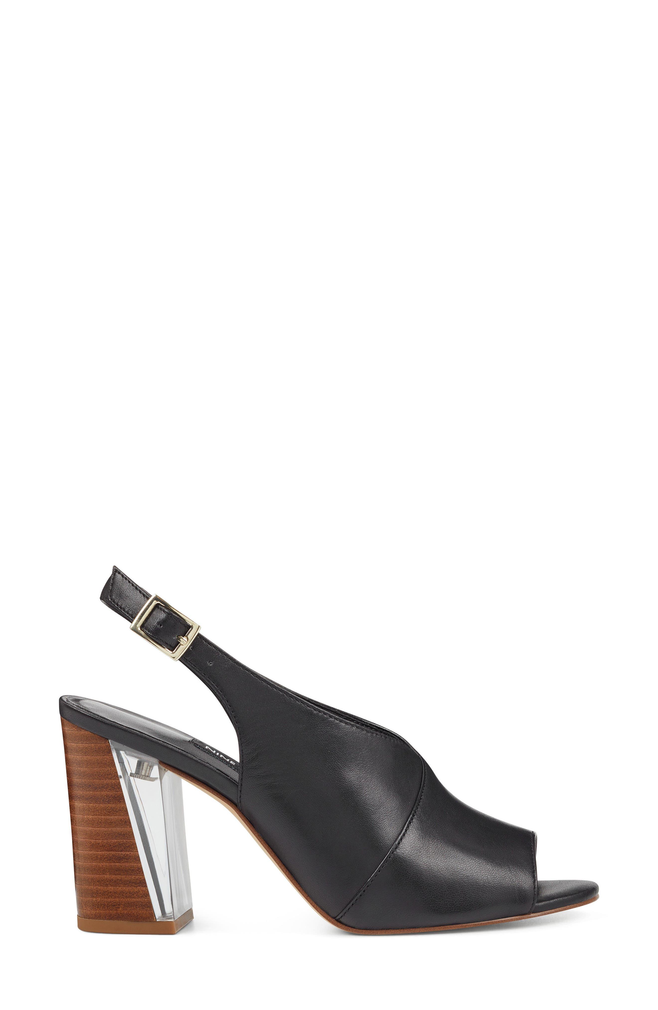 Morenzo Slingback Sandal,                             Alternate thumbnail 3, color,                             BLACK LEATHER