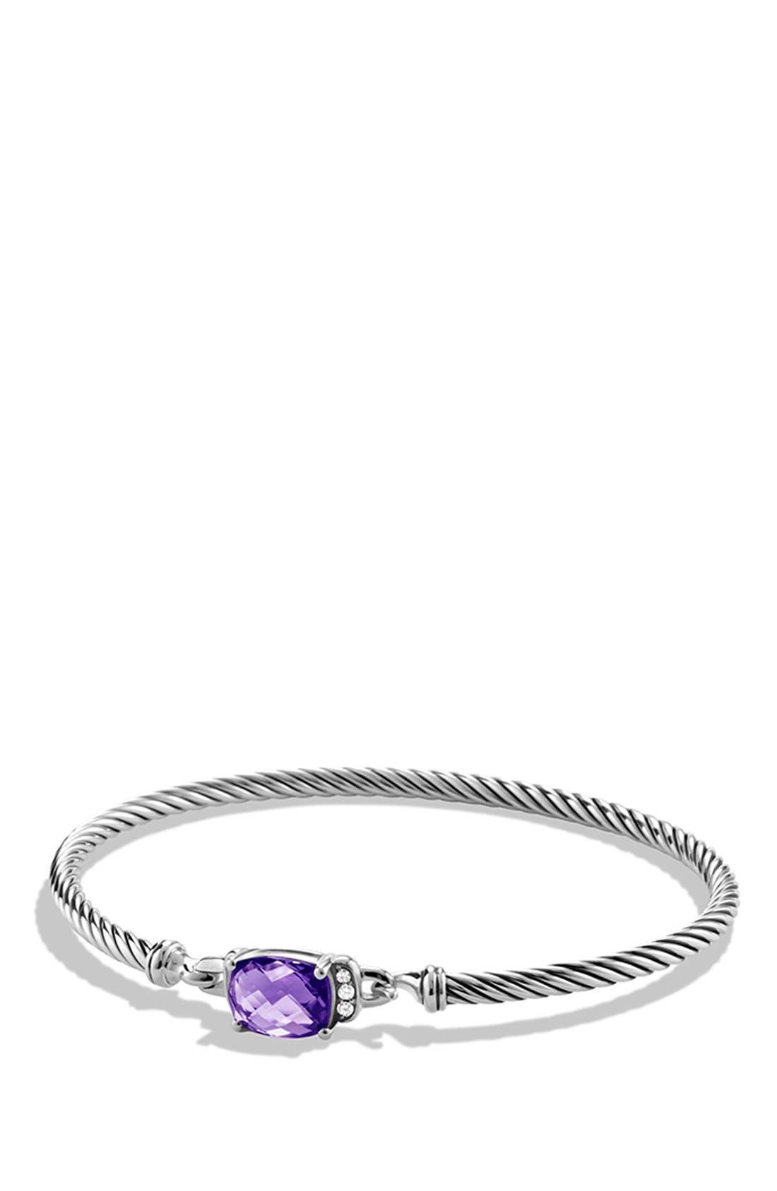 'Petite Wheaton' Bracelet with Semiprecious Stone & Diamonds,                         Main,                         color, AMETHYST