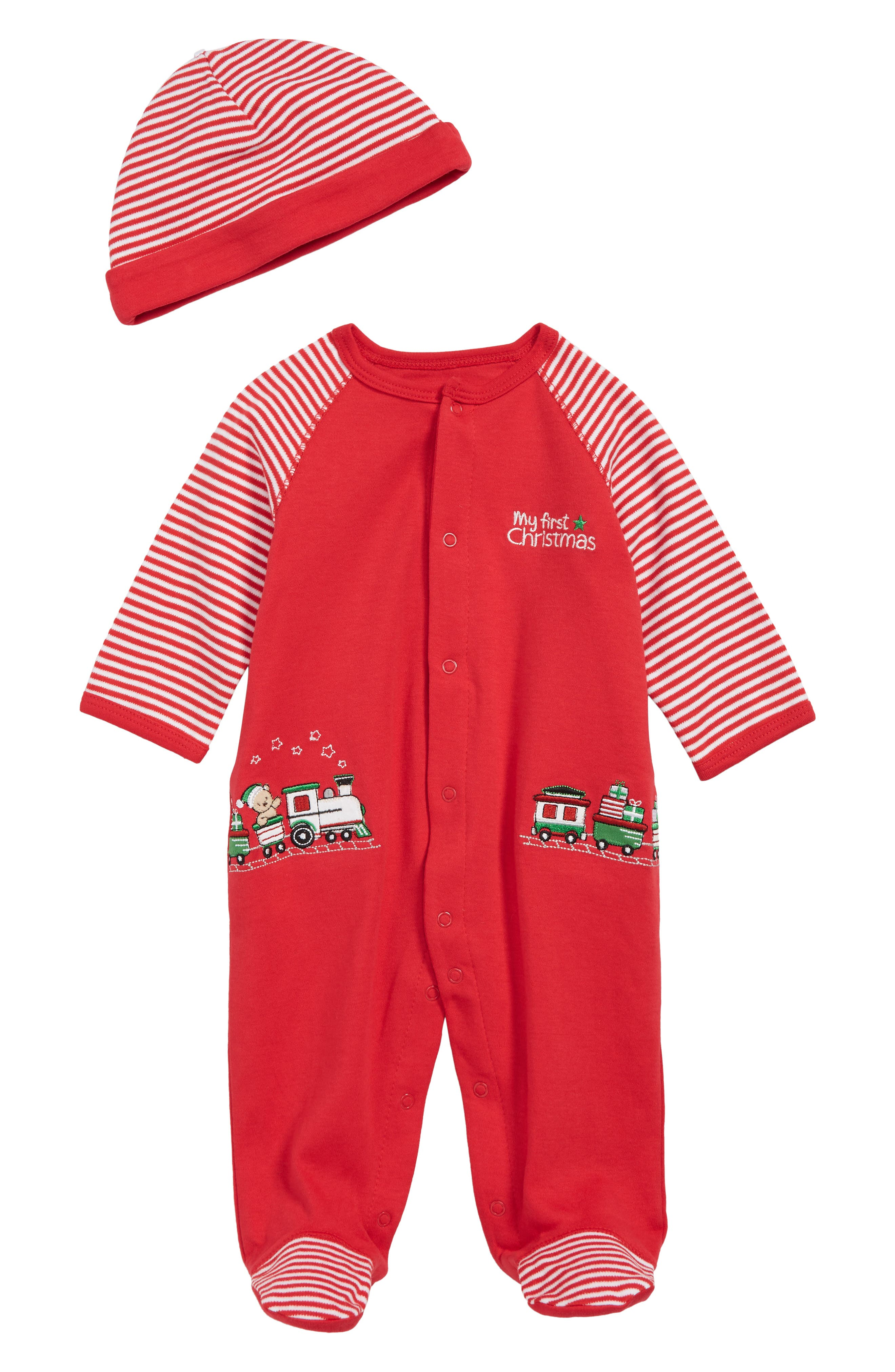 My First Christmas Footie & Hat Set,                             Main thumbnail 1, color,                             600