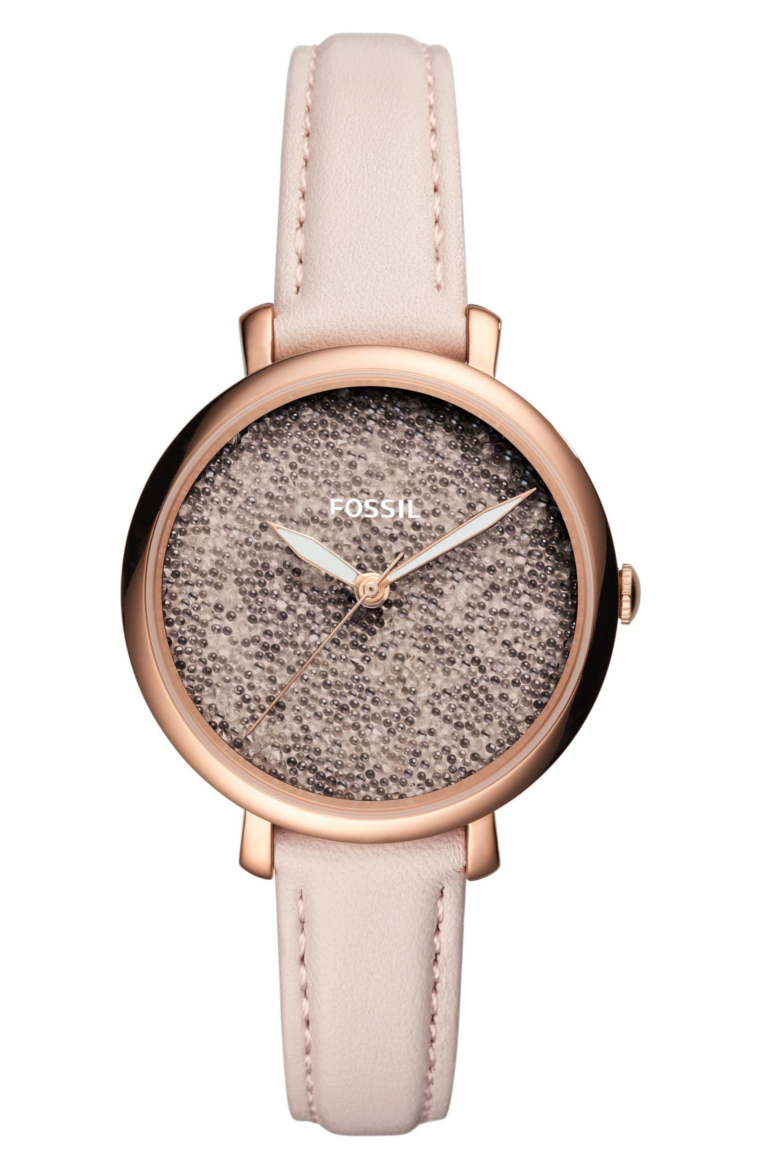 Jacqueline Leather Strap Watch, 36mm,                         Main,                         color, 651