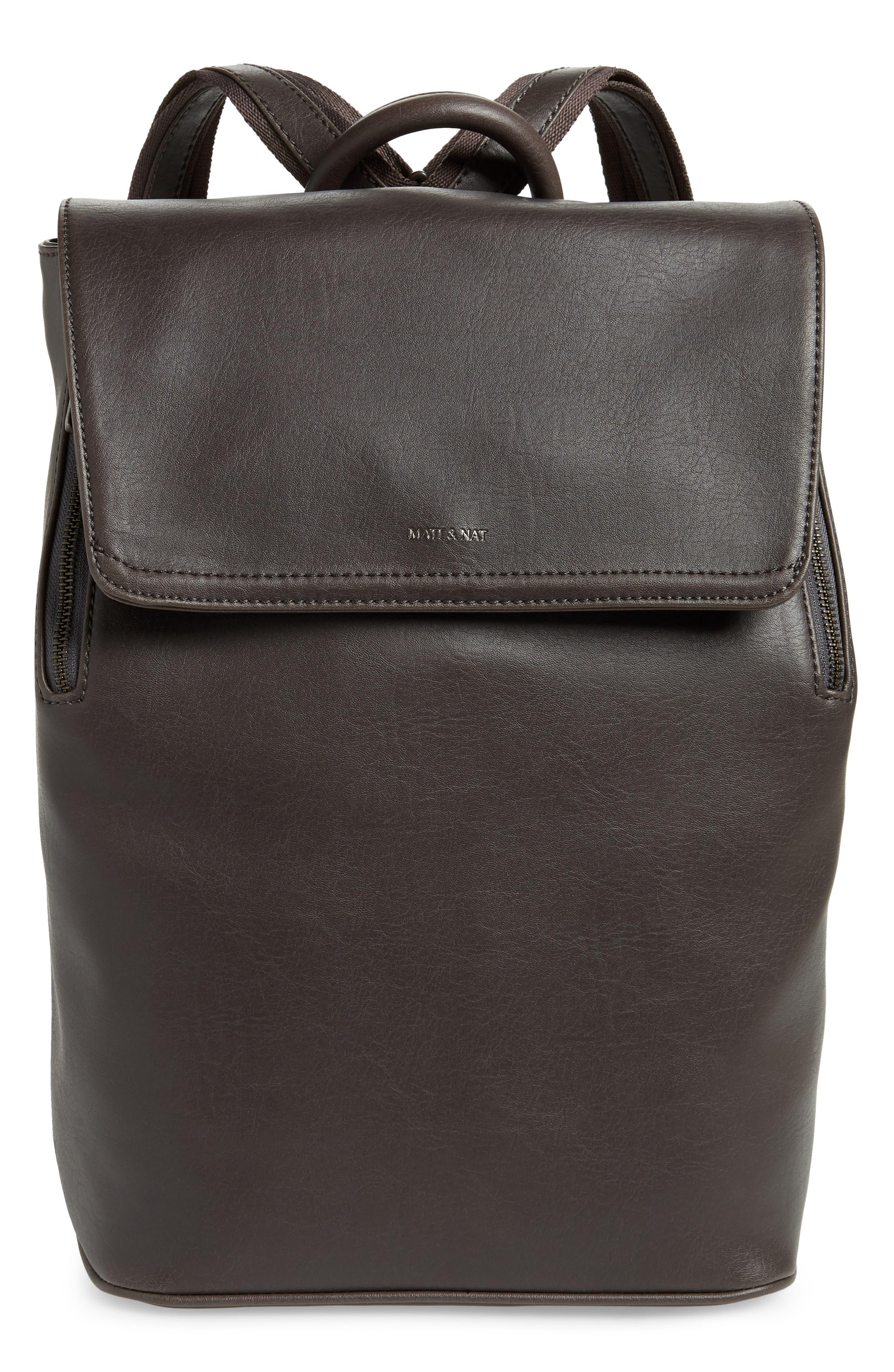 MATT & NAT 'Fabi' Faux Leather Laptop Backpack, Main, color, NO_COLOR