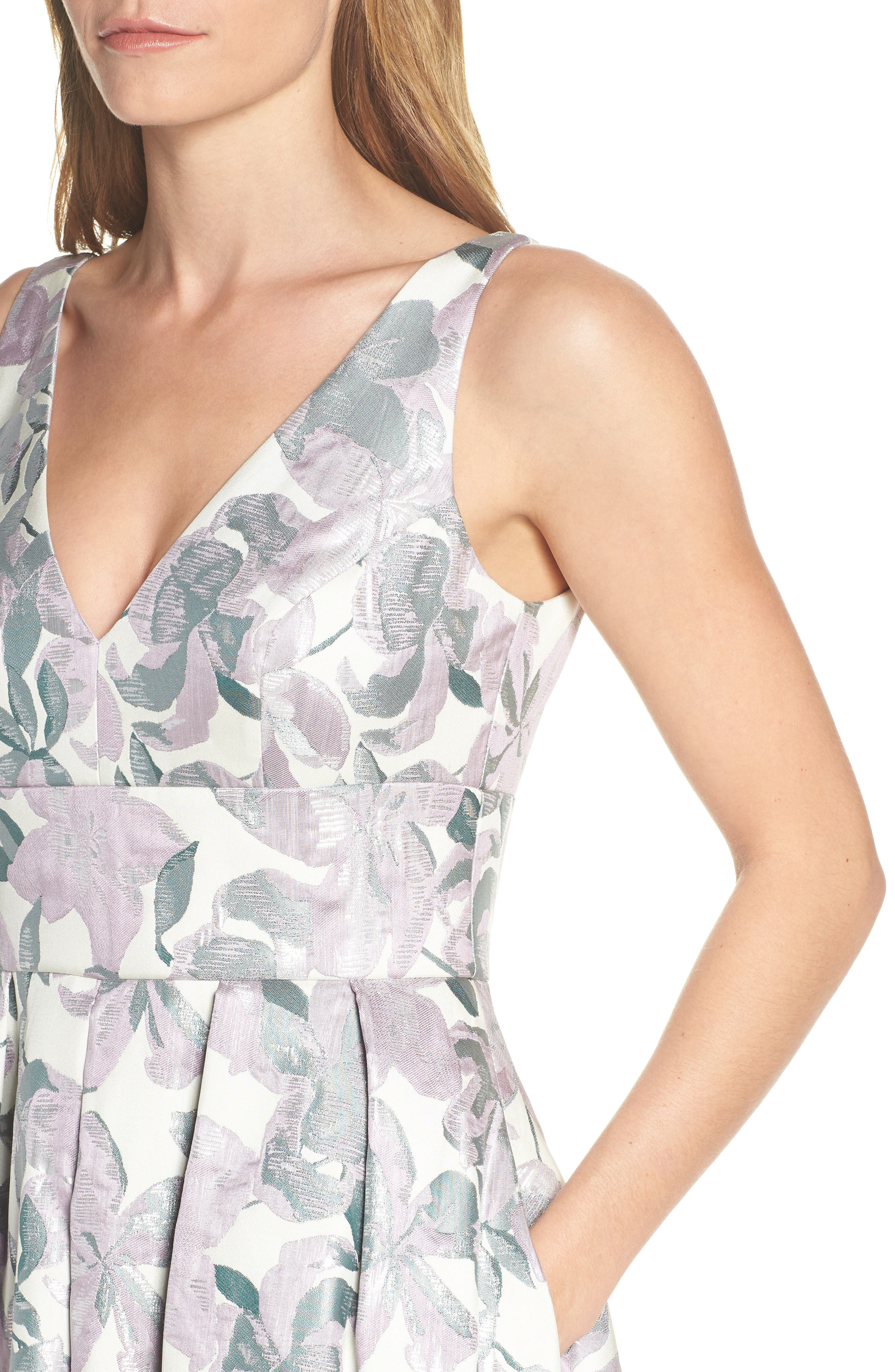 Floral Jacquard High/Low Evening Dress,                             Alternate thumbnail 4, color,                             LILAC COMBINATION