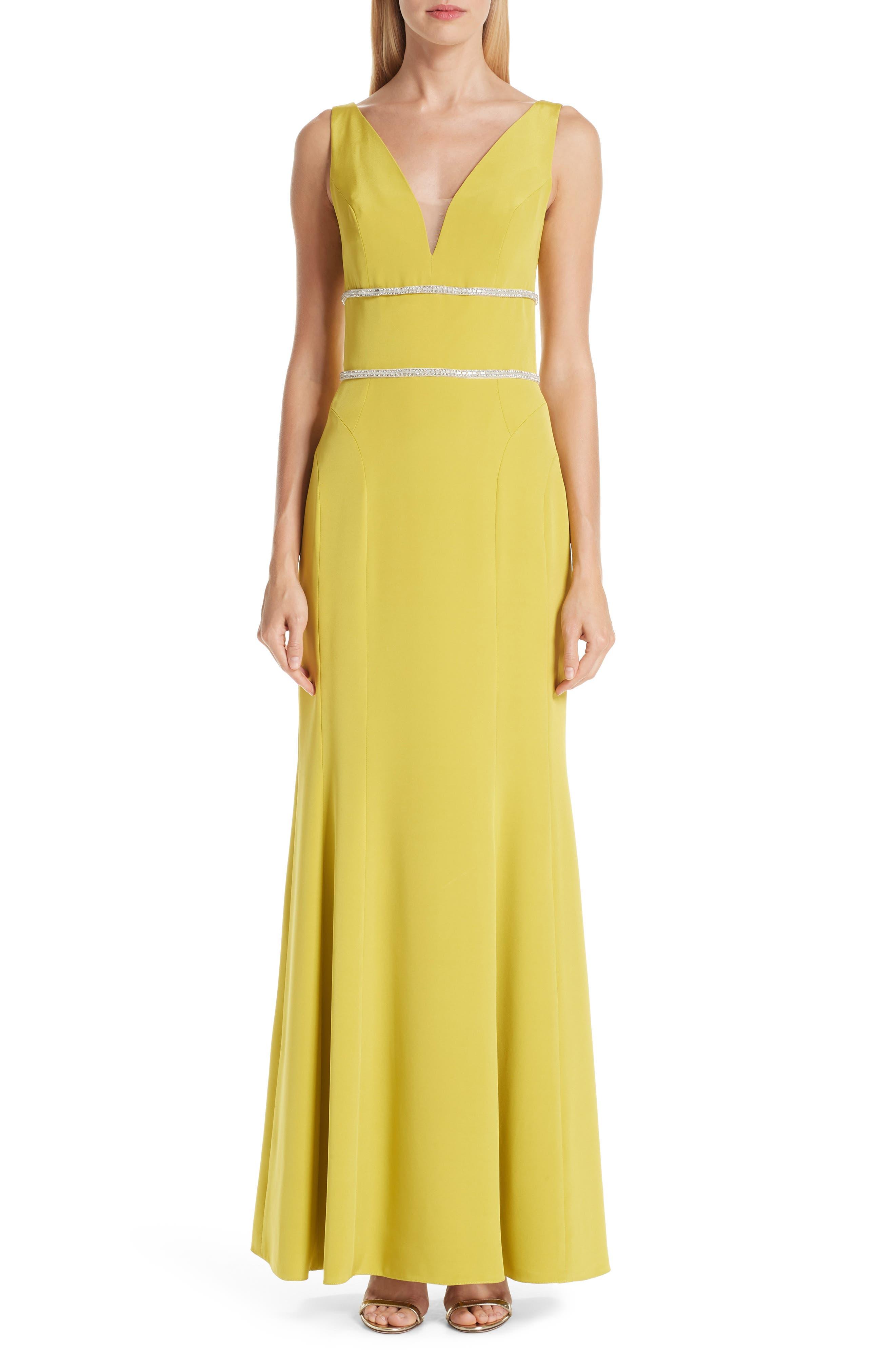 VERDIN Embellished Silk V-Neck Evening Dress, Main, color, CITRUS