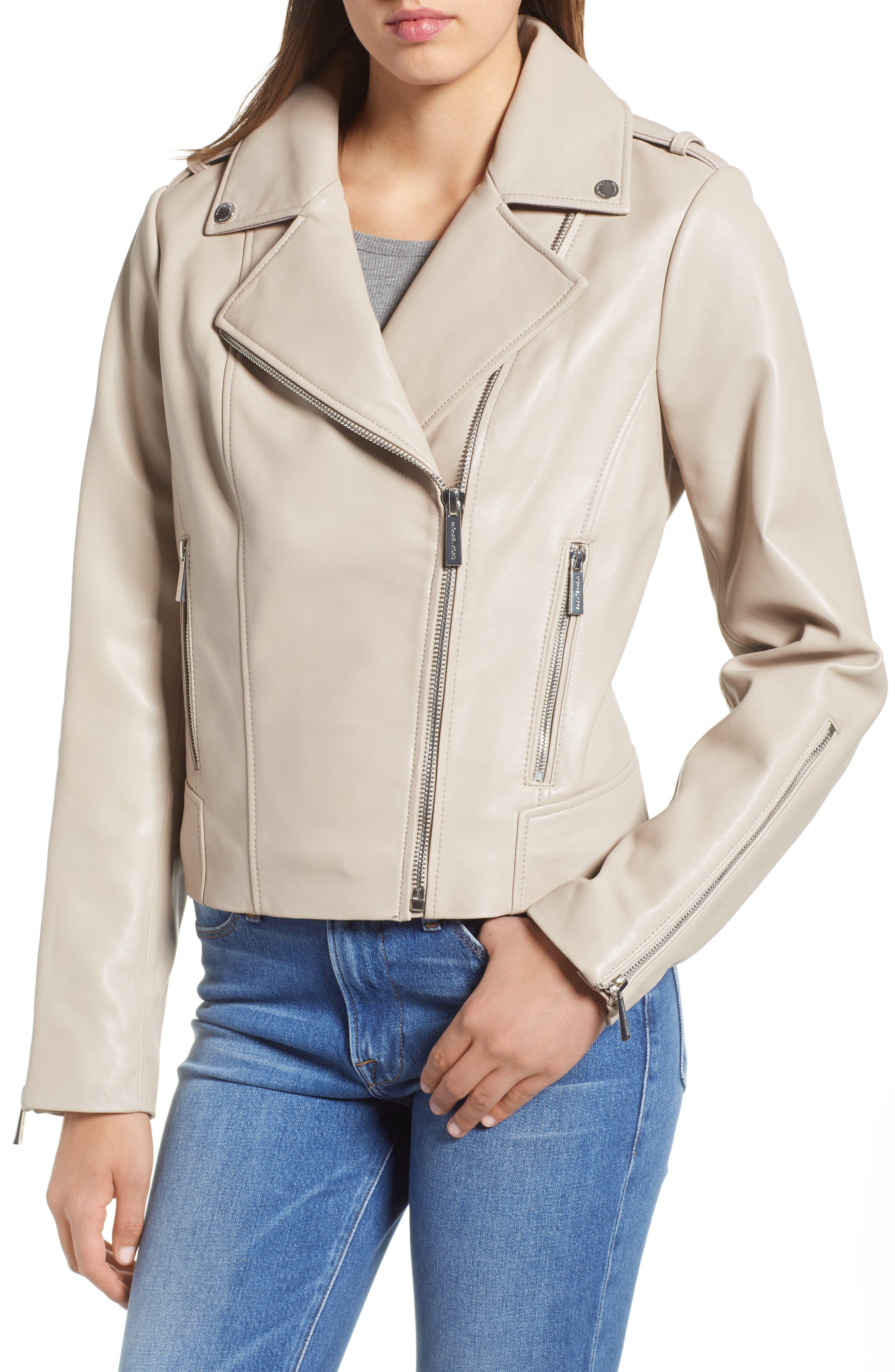 Classic Leather Moto Jacket,                             Alternate thumbnail 9, color,